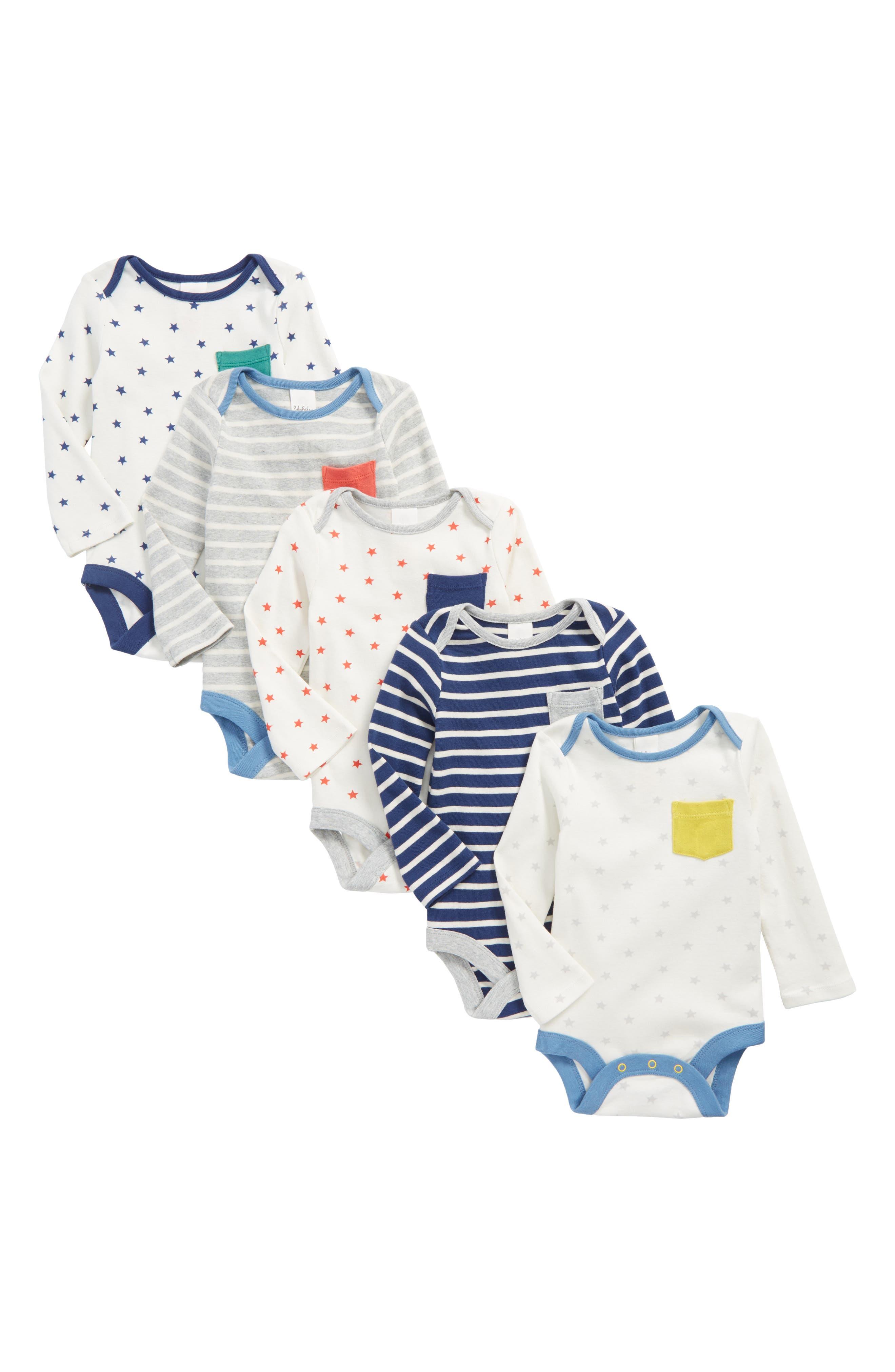Mini Boden Fun 5-Pack Bodysuits (Baby Boys)