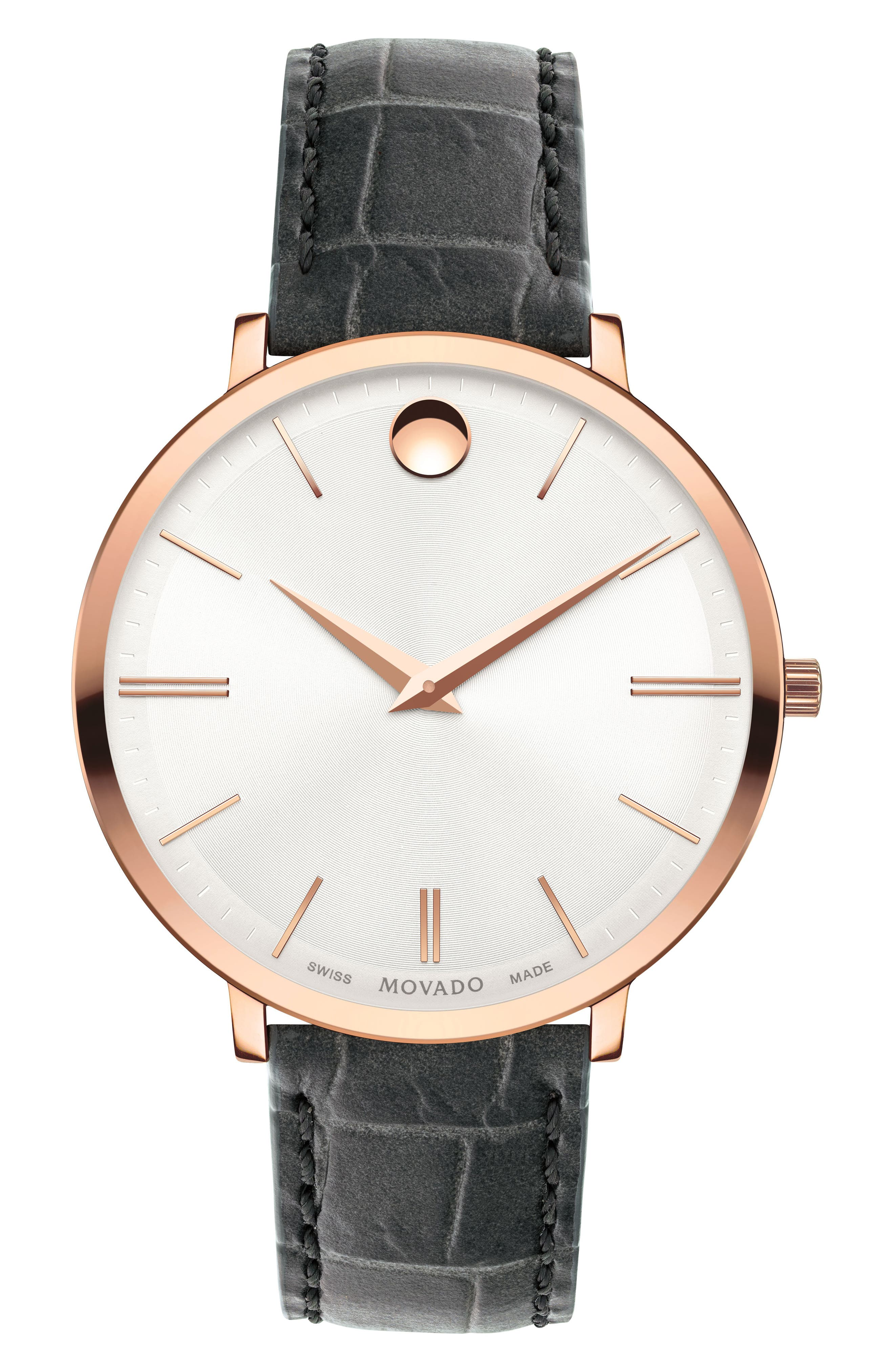 Ultra Slim Leather Strap Watch, 35mm,                         Main,                         color, Grey/ Silver/ Rose Gold