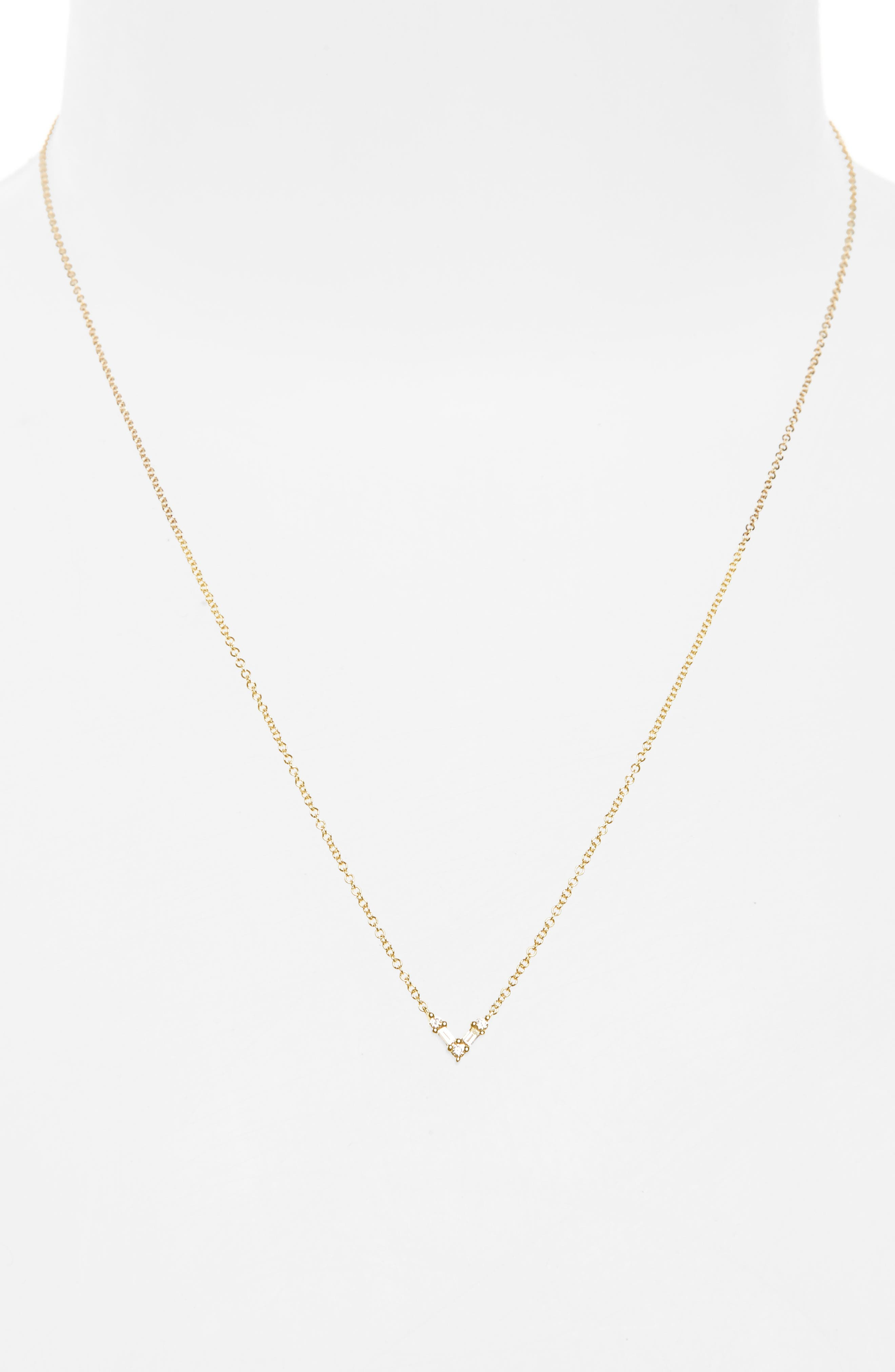 Mini Chevron Diamond Pendant Necklace,                             Alternate thumbnail 2, color,                             Yellow Gold