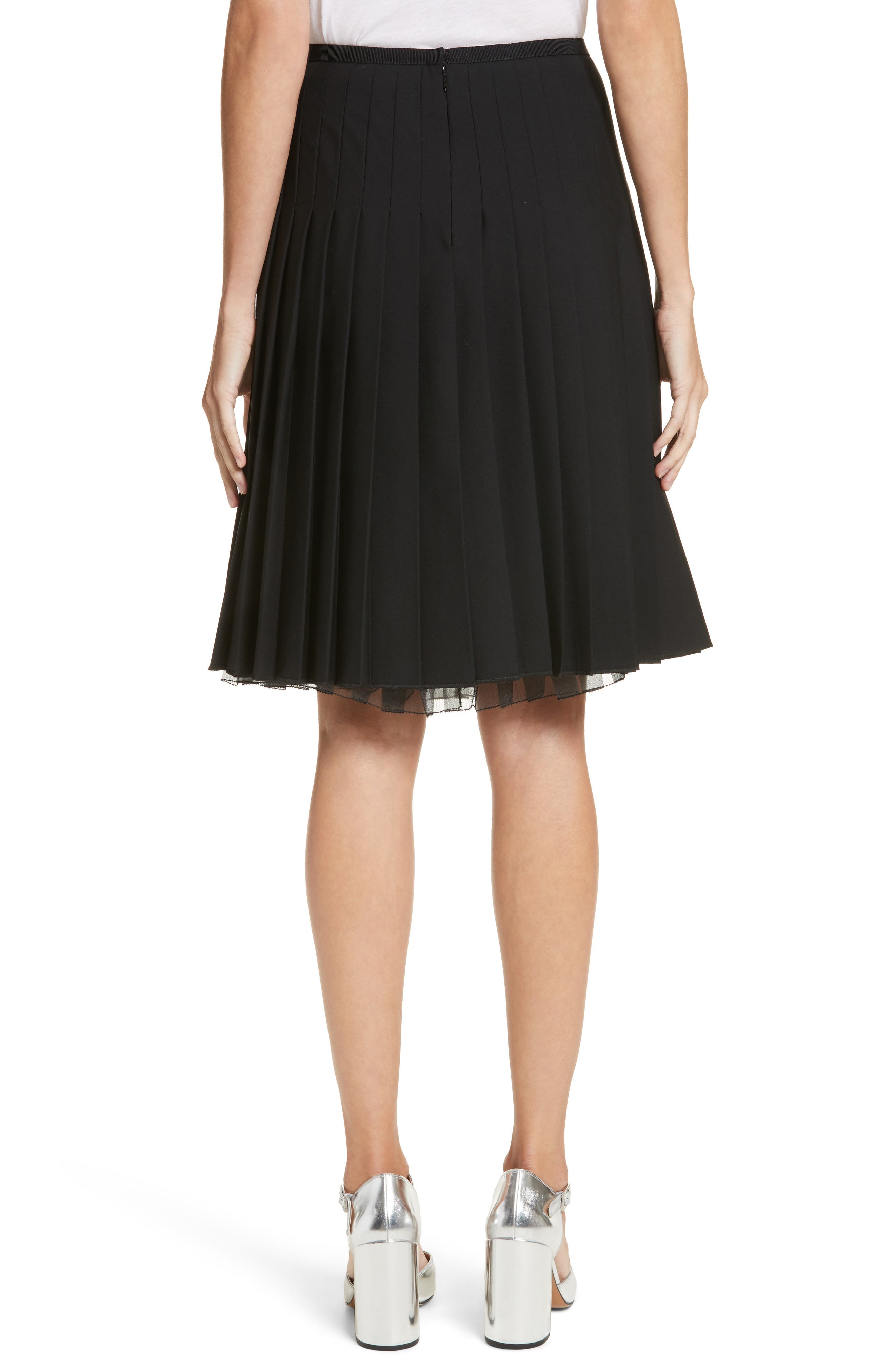 Pleated Stretch Wool Skirt,                             Alternate thumbnail 2, color,                             Black