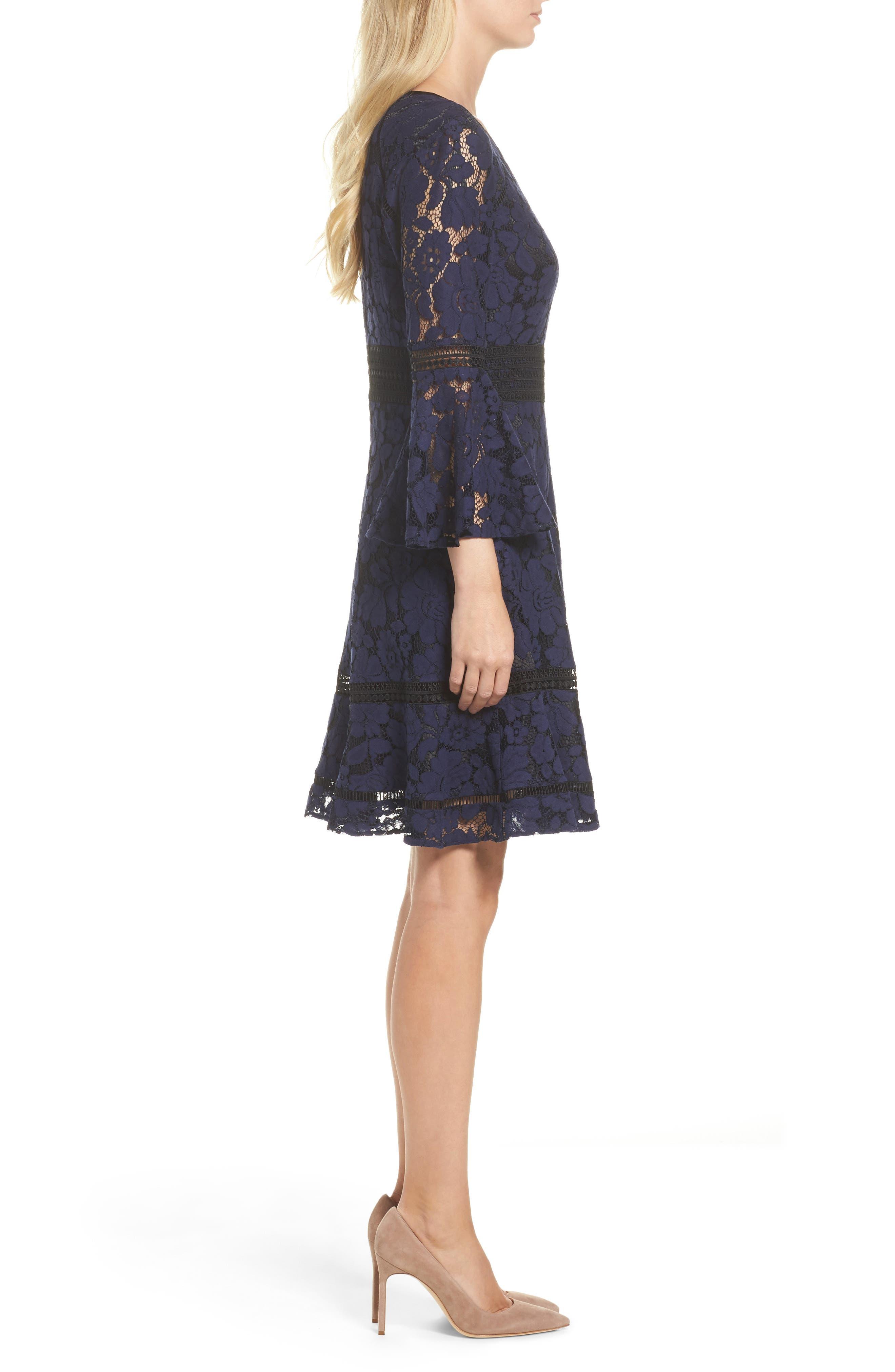 Bell Sleeve Lace Dress,                             Alternate thumbnail 3, color,                             Navy/ Black