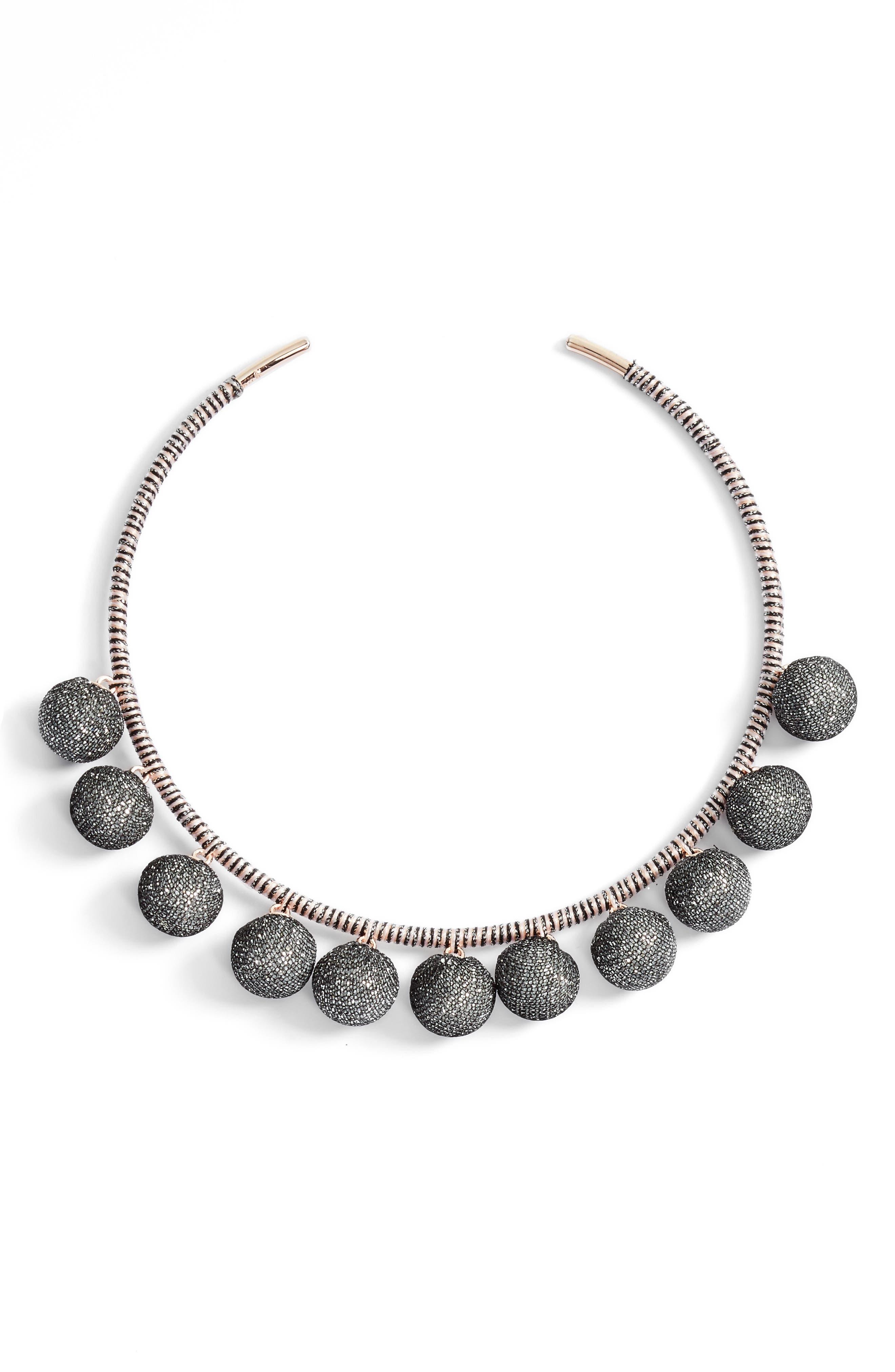 Rebecca Minkoff High Shine Pompom Collar Necklace