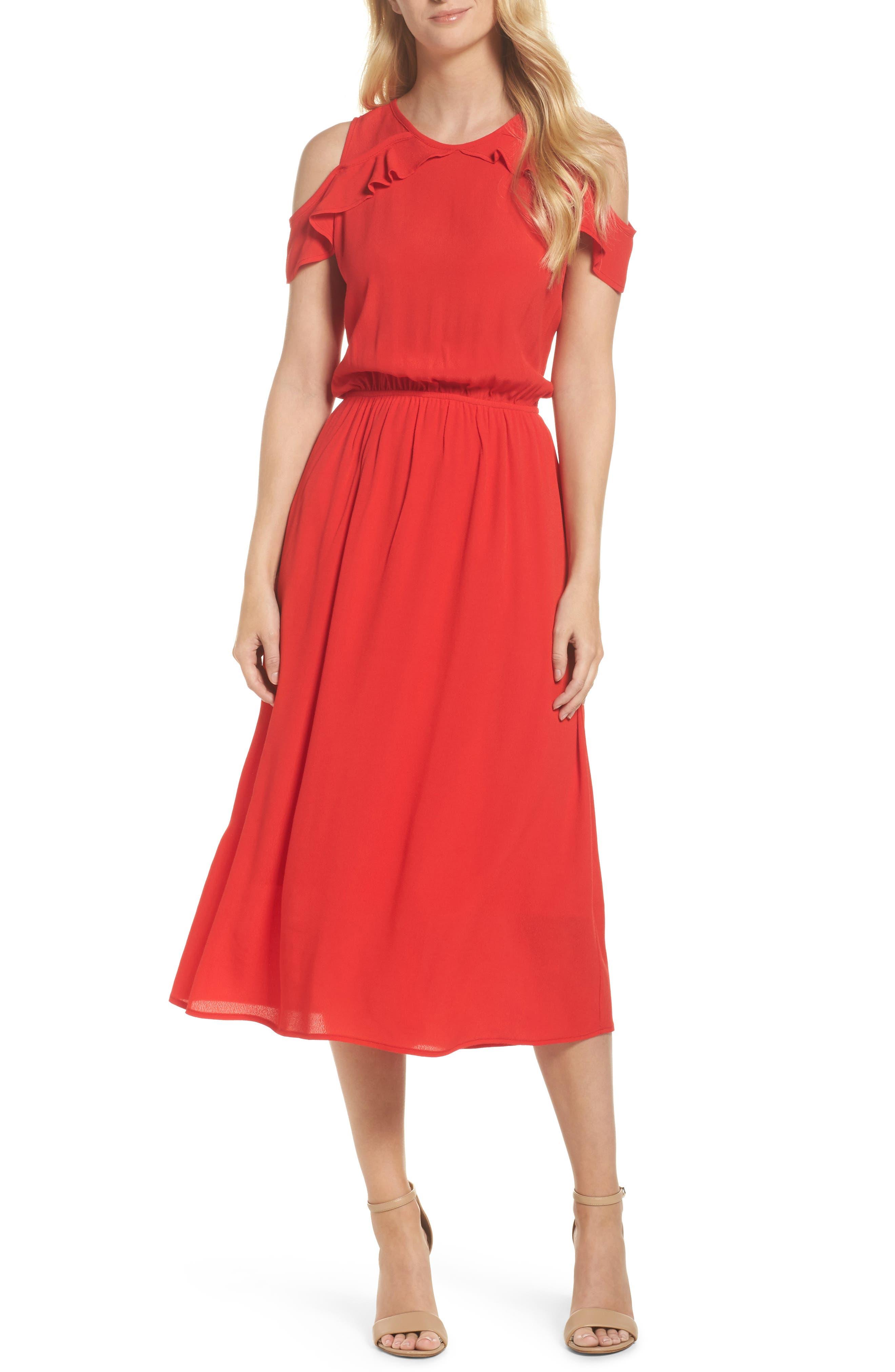 Main Image - Fraiche by J Cold Shoulder Midi Dress