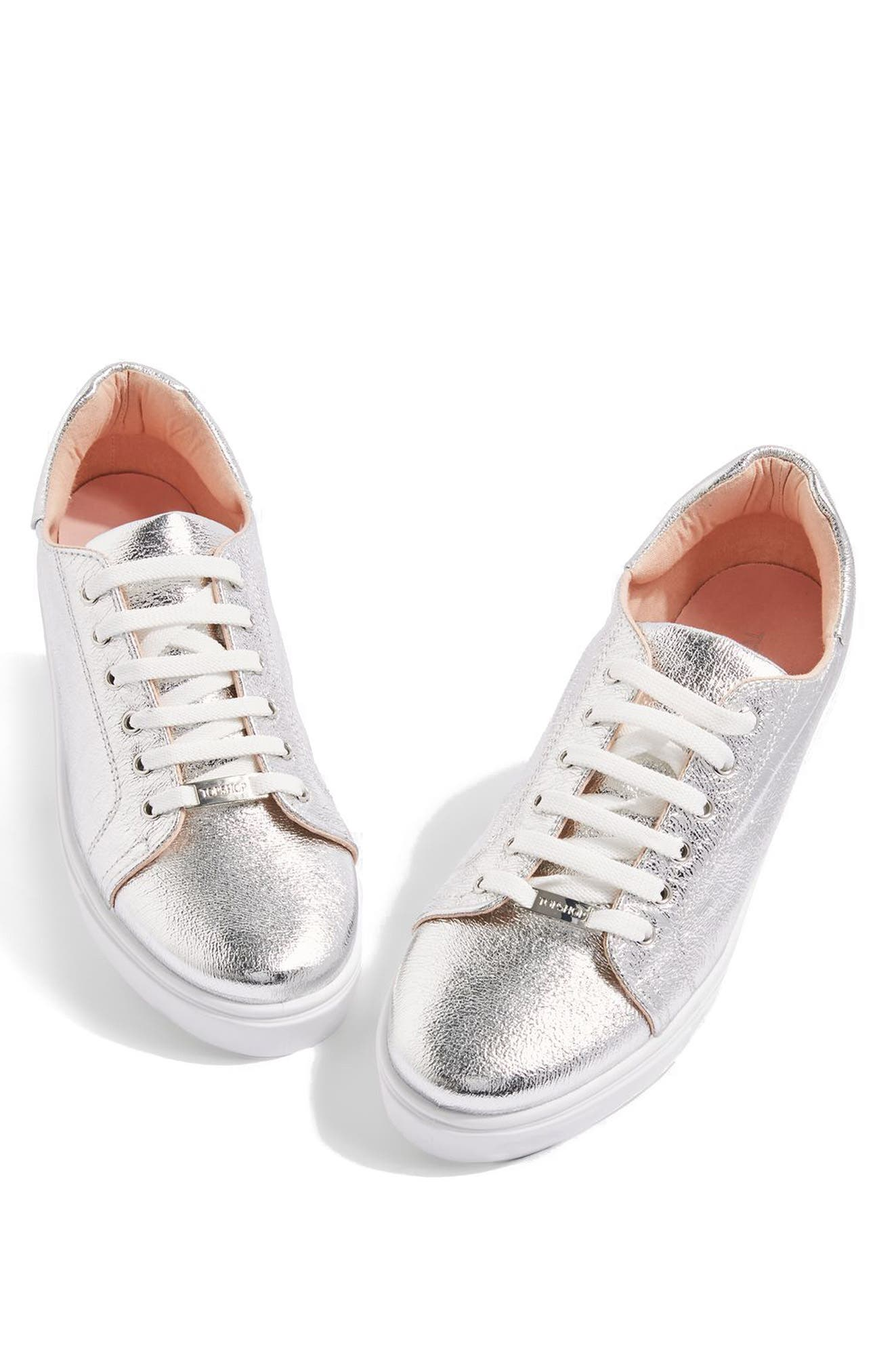 Cosmo Metallic Lace-Up Sneaker,                             Main thumbnail 1, color,                             Silver