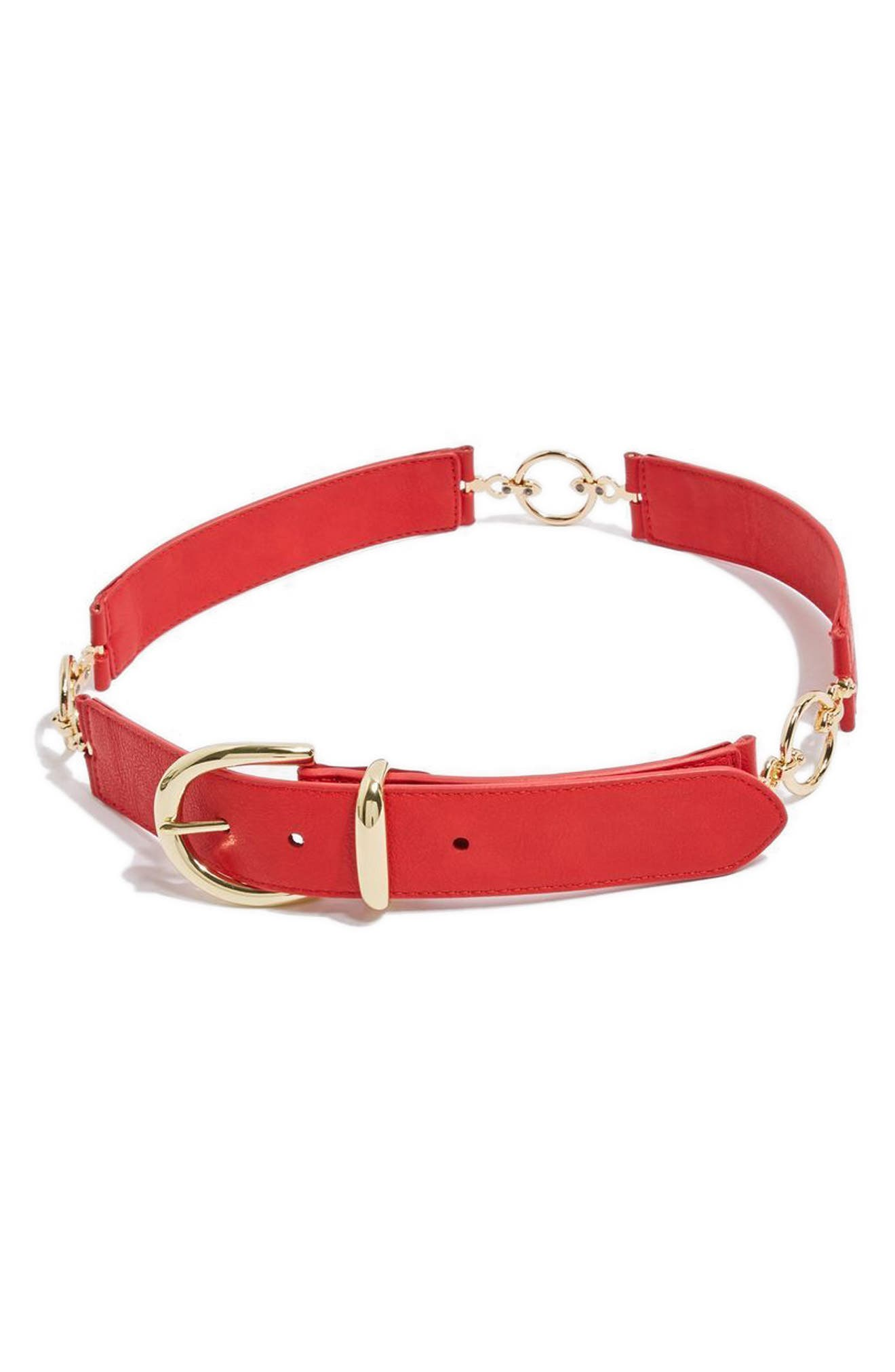 Logo Link Faux Leather Belt,                         Main,                         color, Red