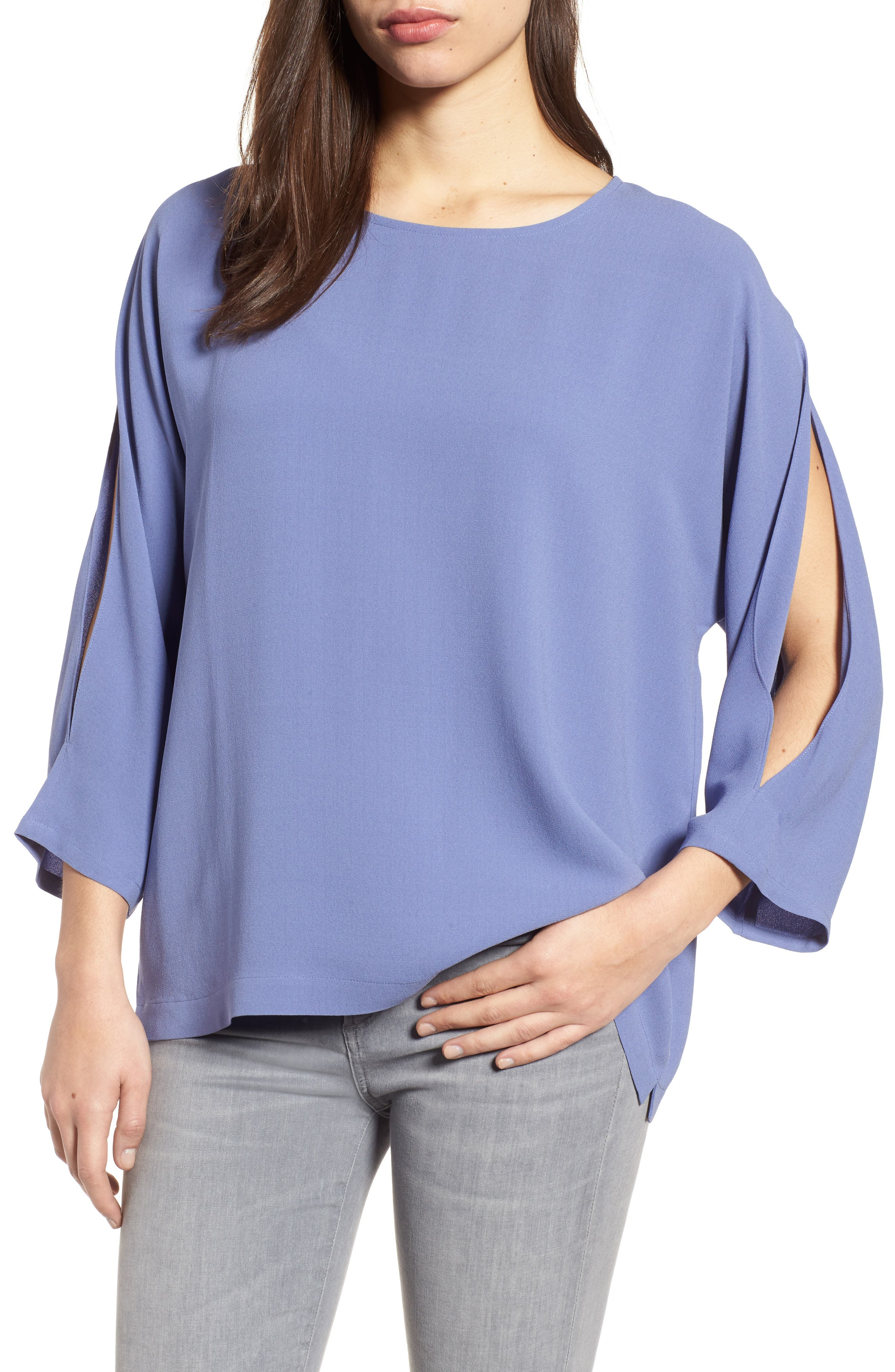 Slit Sleeve Silk Top,                             Main thumbnail 1, color,                             Periwinkle