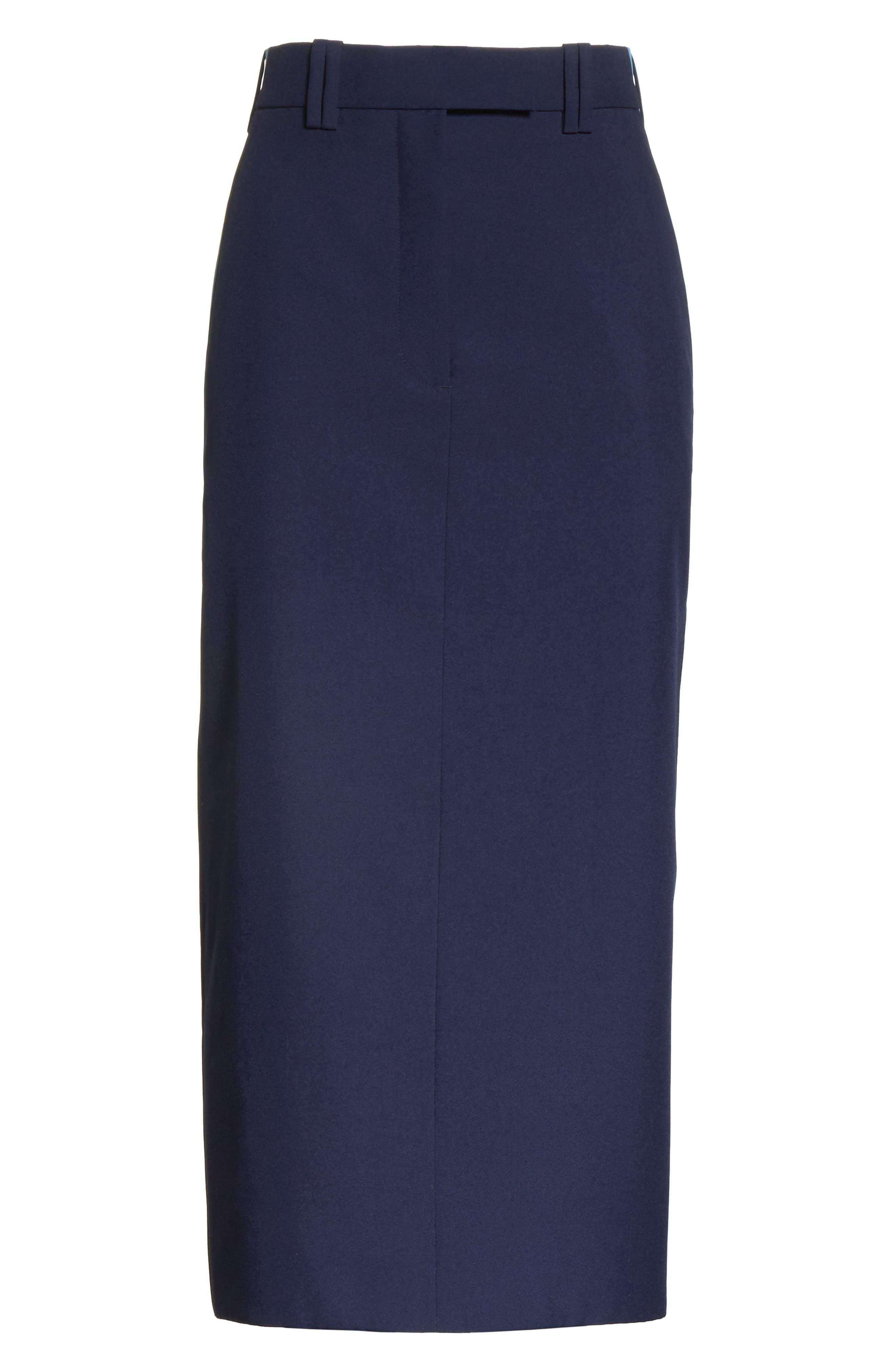 Uniform Midi Skirt,                             Alternate thumbnail 6, color,                             Marine