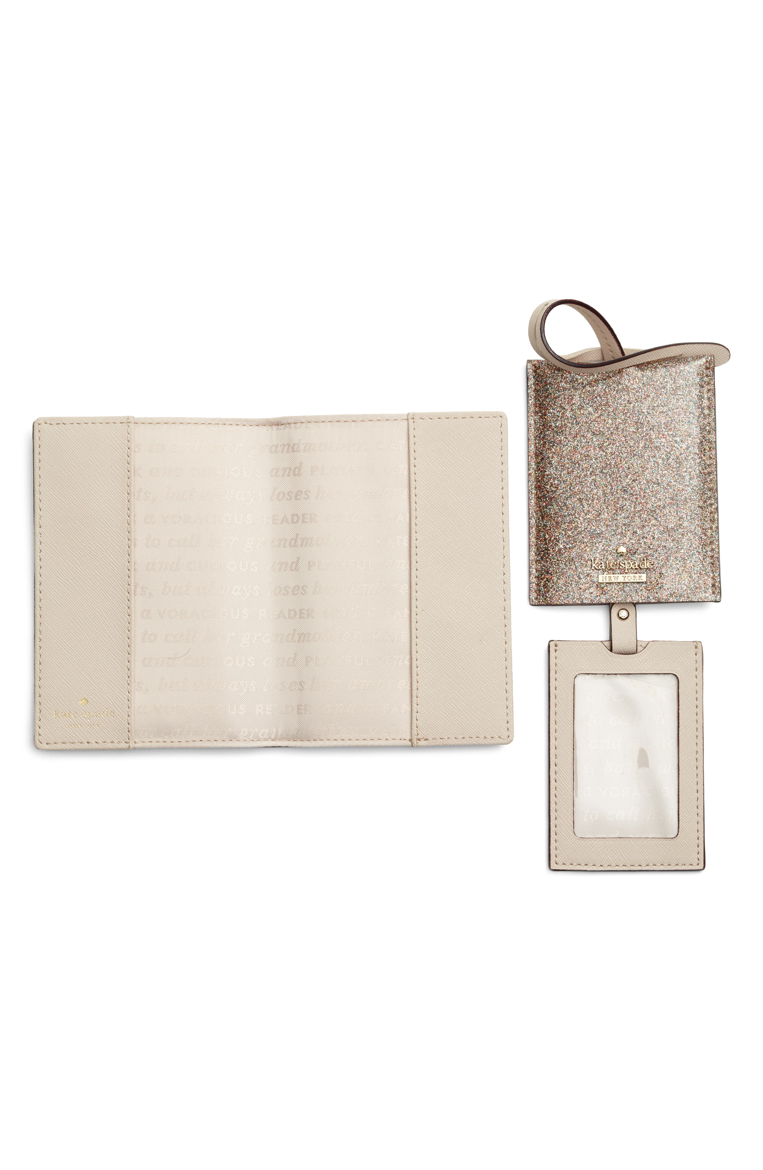 leather passport case & luggage tag set,                             Alternate thumbnail 3, color,                             Multi