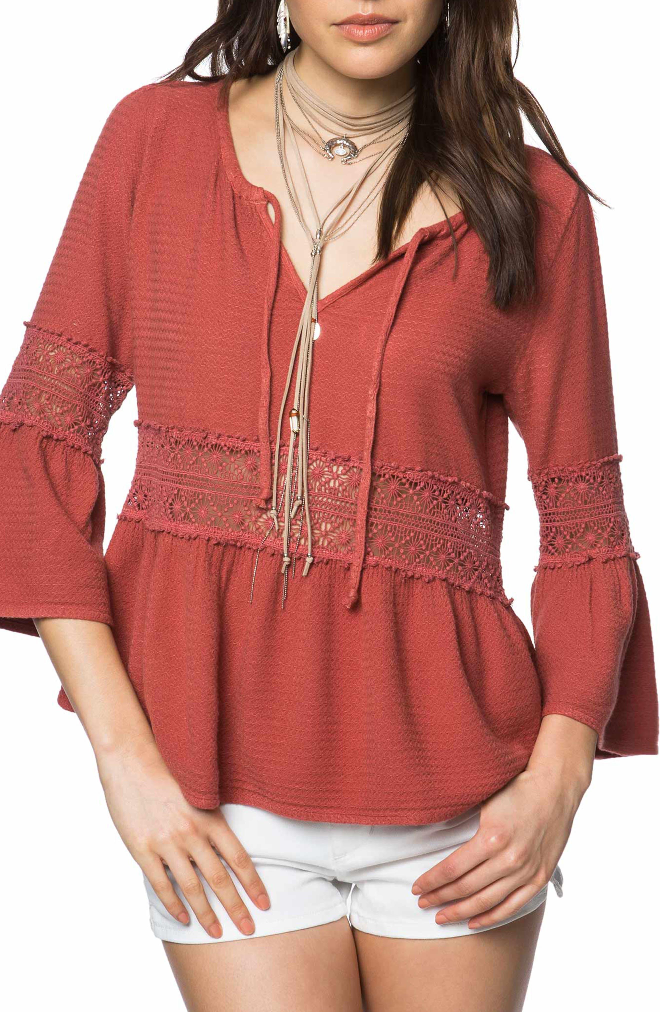 Utah Crochet Top,                         Main,                         color, Burnt Henna