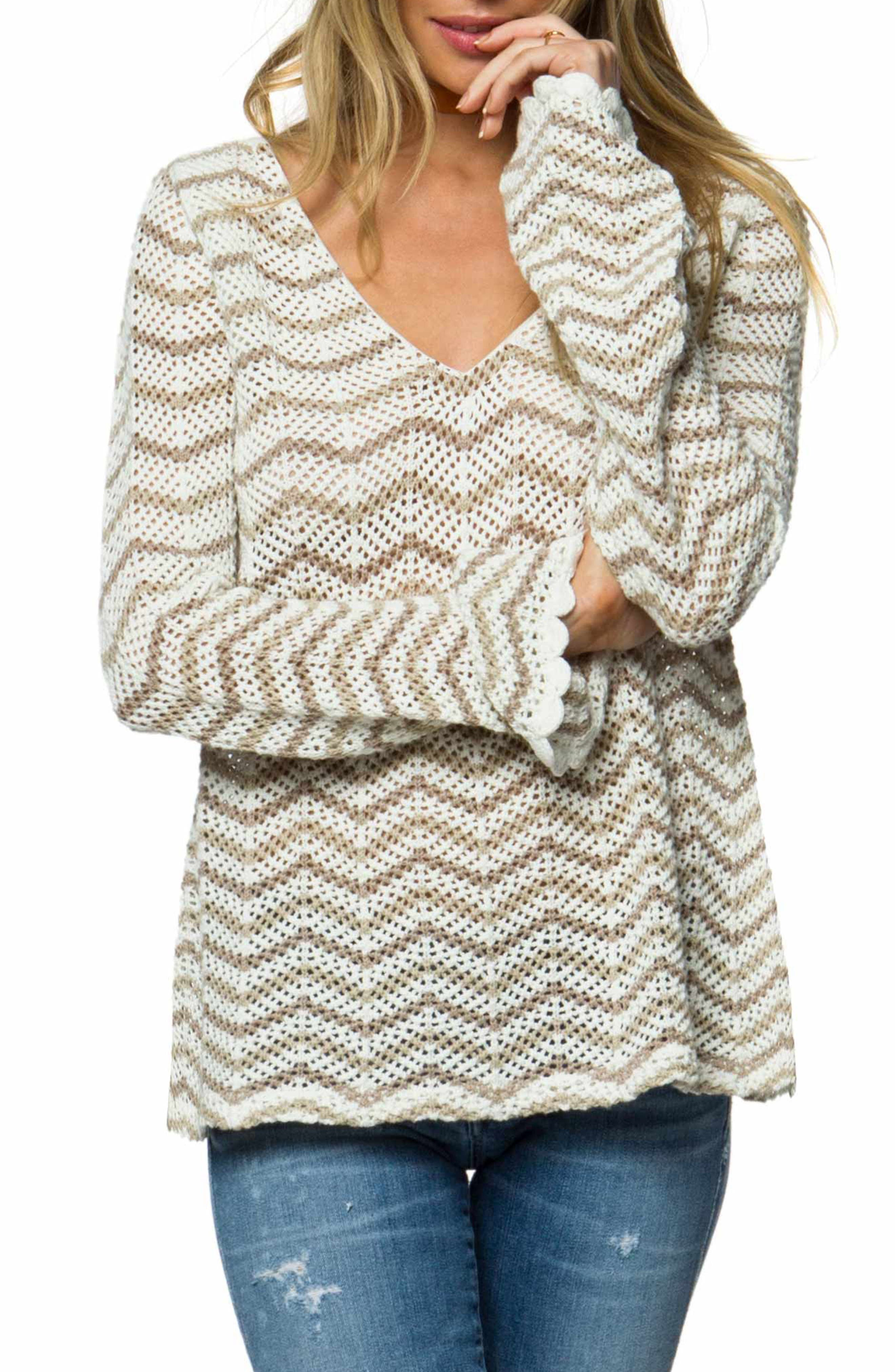 Delancey V-Neck Sweater,                             Main thumbnail 1, color,                             Naked