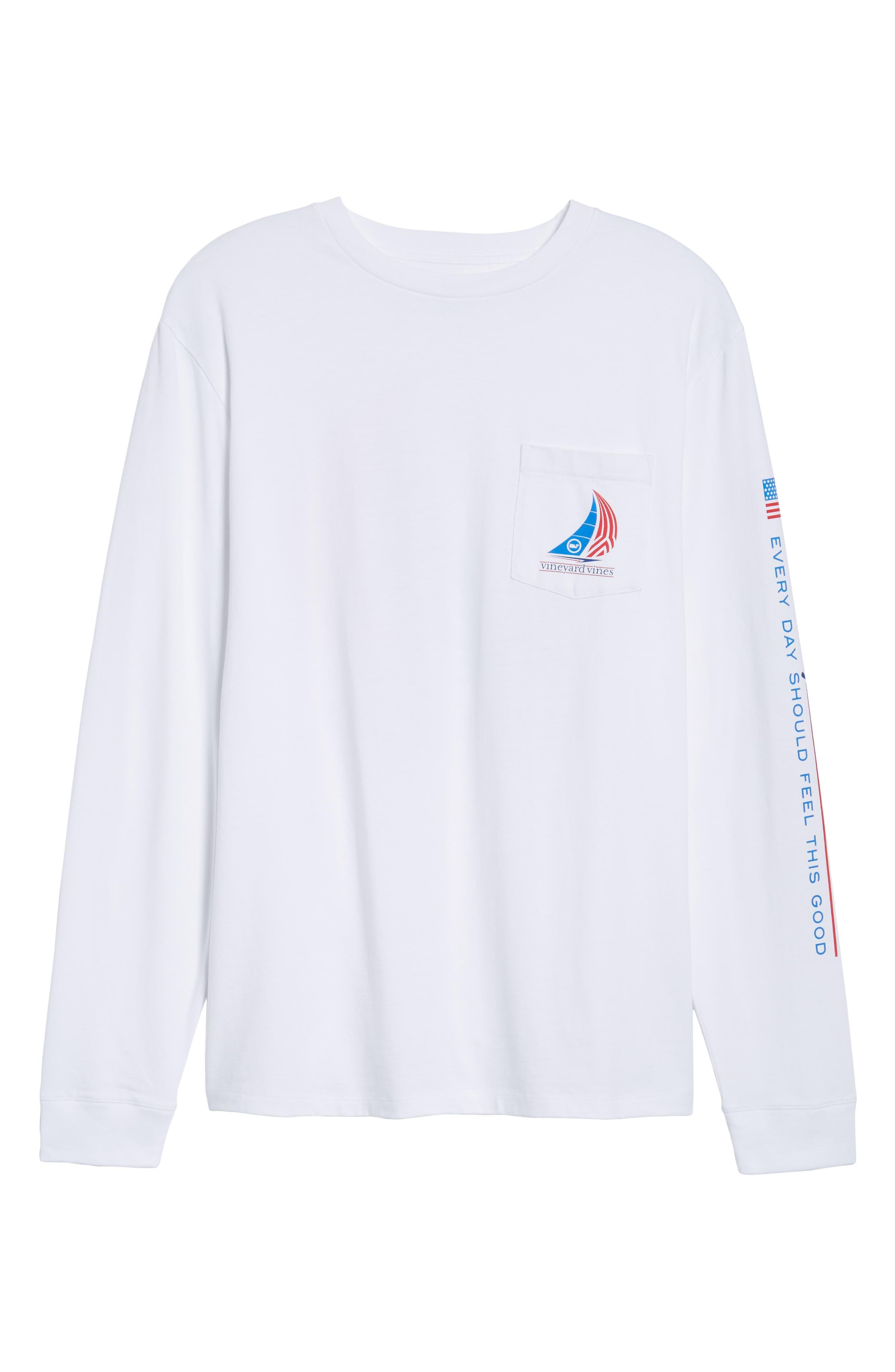 Spinnaker Sail Long Sleeve Pocket T-Shirt,                             Alternate thumbnail 6, color,                             White Cap