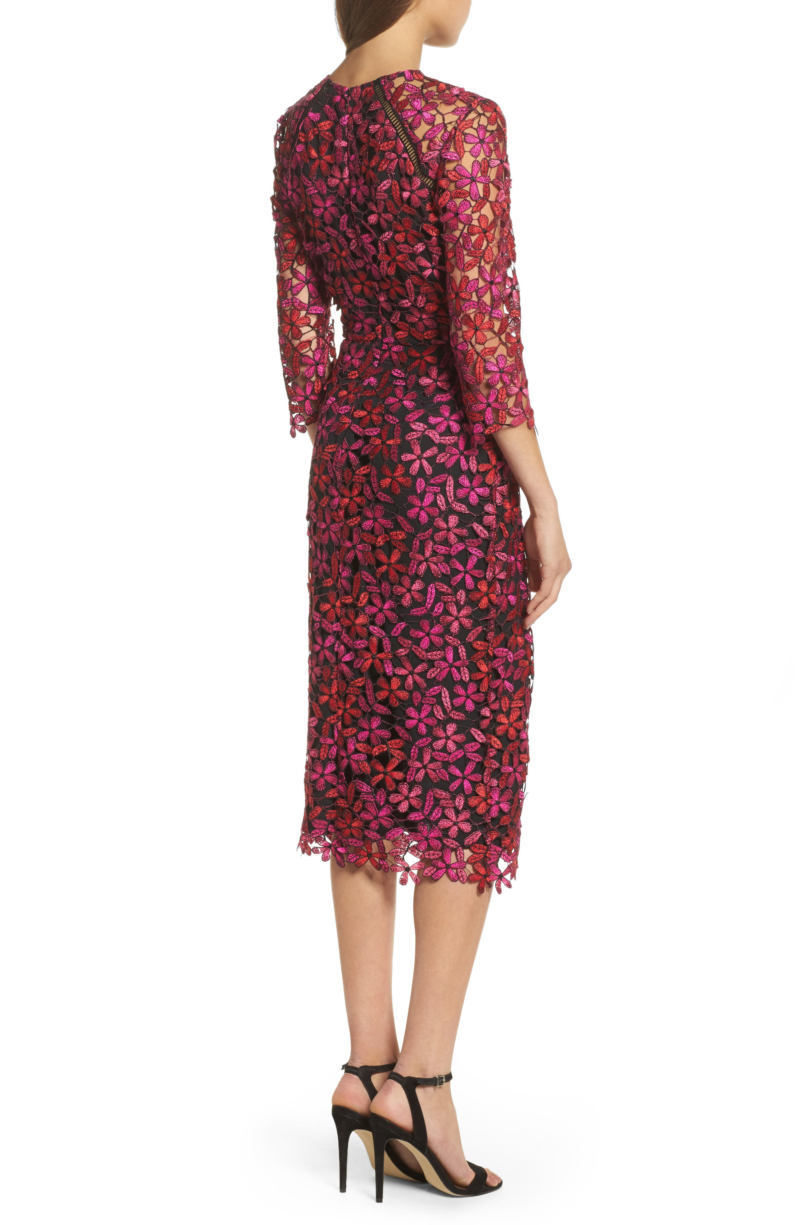 Alternate Image 2  - Shoshanna Floral Lace Sheath Dress