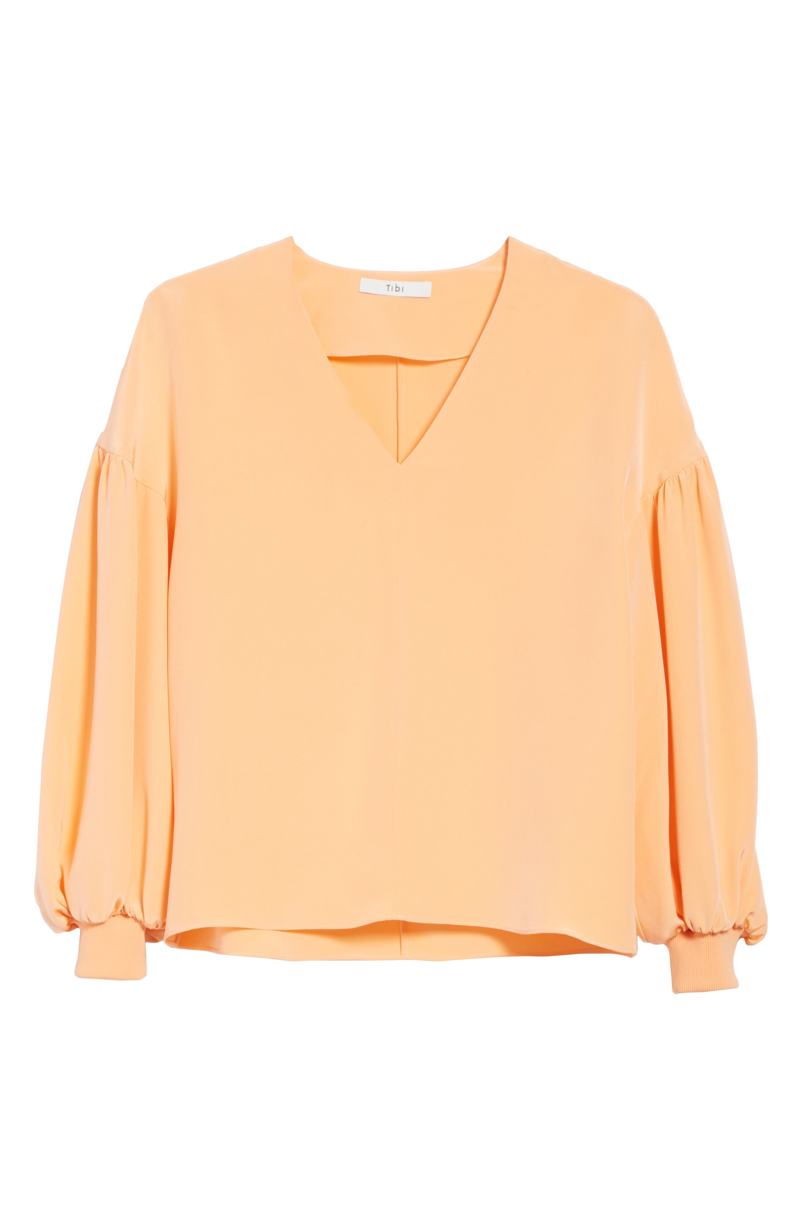 Blouson Sleeve Four-Ply Silk Top,                             Alternate thumbnail 6, color,                             Apricot