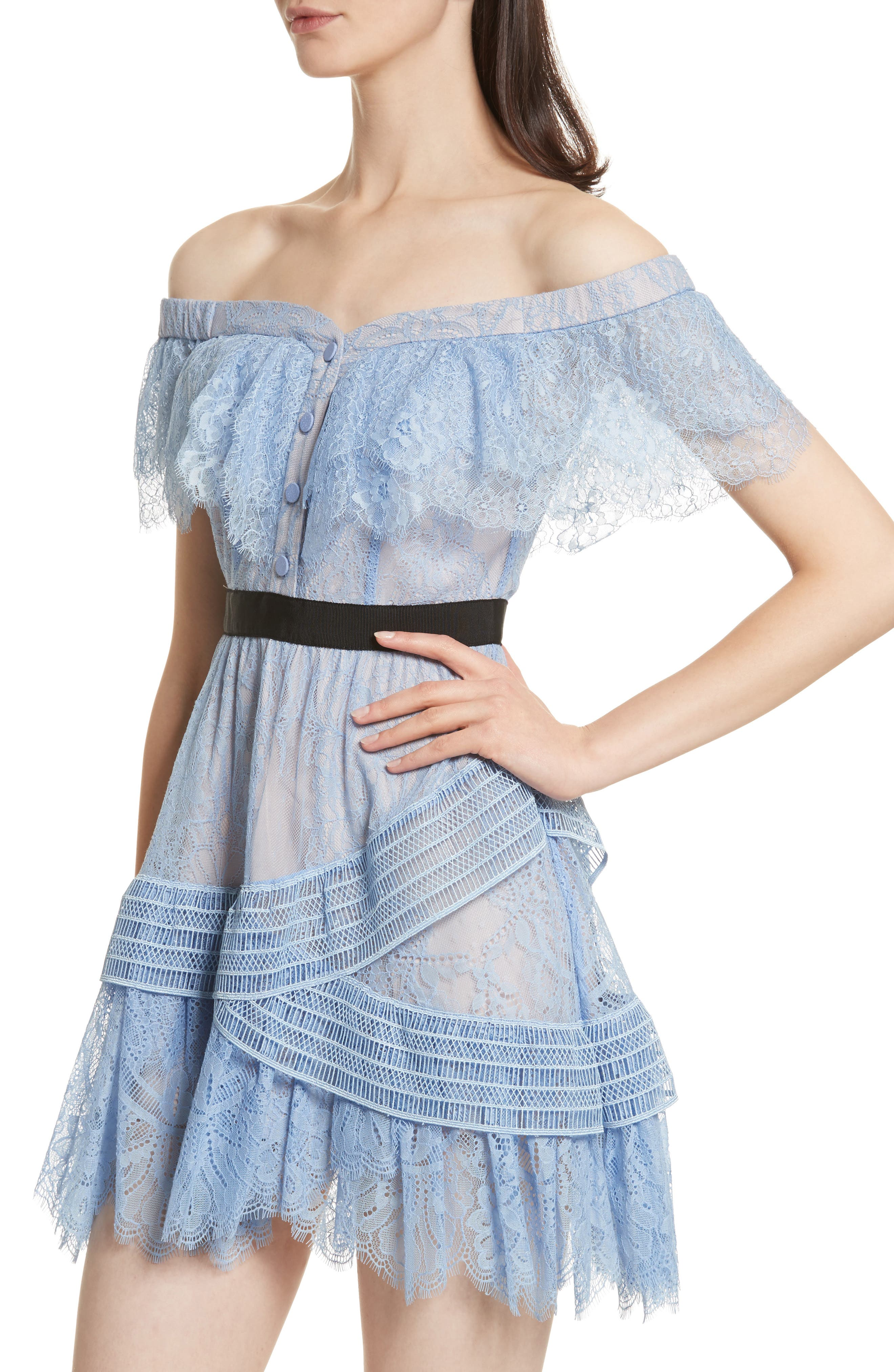 Lace Off the Shoulder Minidress,                             Alternate thumbnail 4, color,                             Baby Blue
