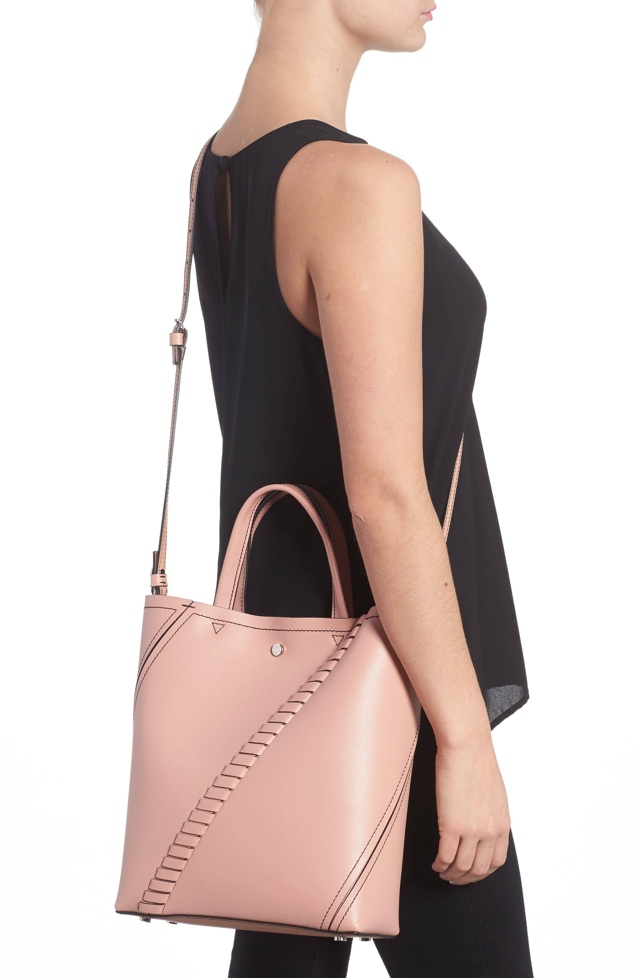Mini Hex Whipstitch Calfskin Leather Tote,                             Alternate thumbnail 2, color,                             Deep Blush