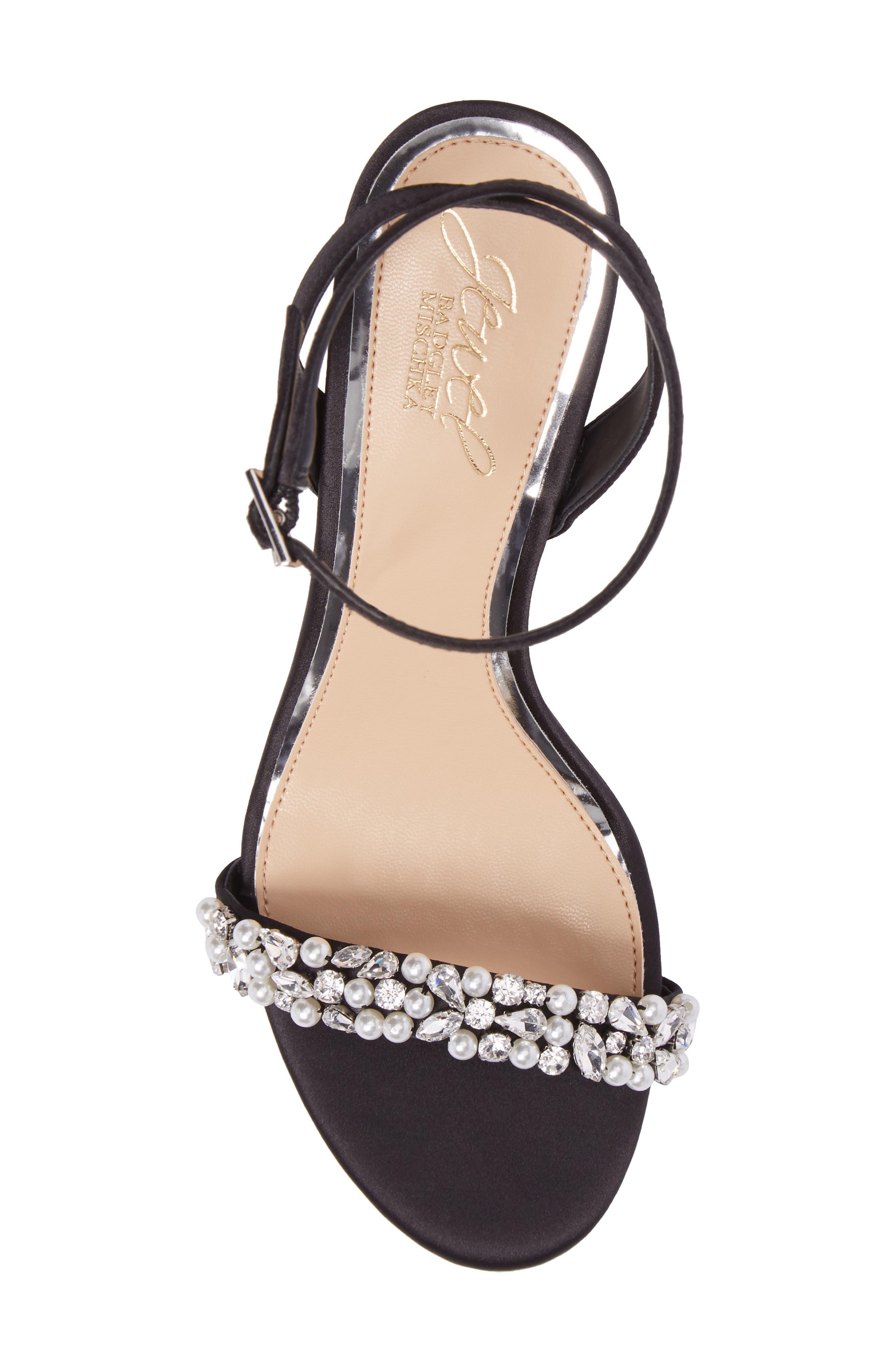 Jewel by Badgley Mischka Theodora Ankle Strap Sandal,                             Alternate thumbnail 5, color,                             Black Satin