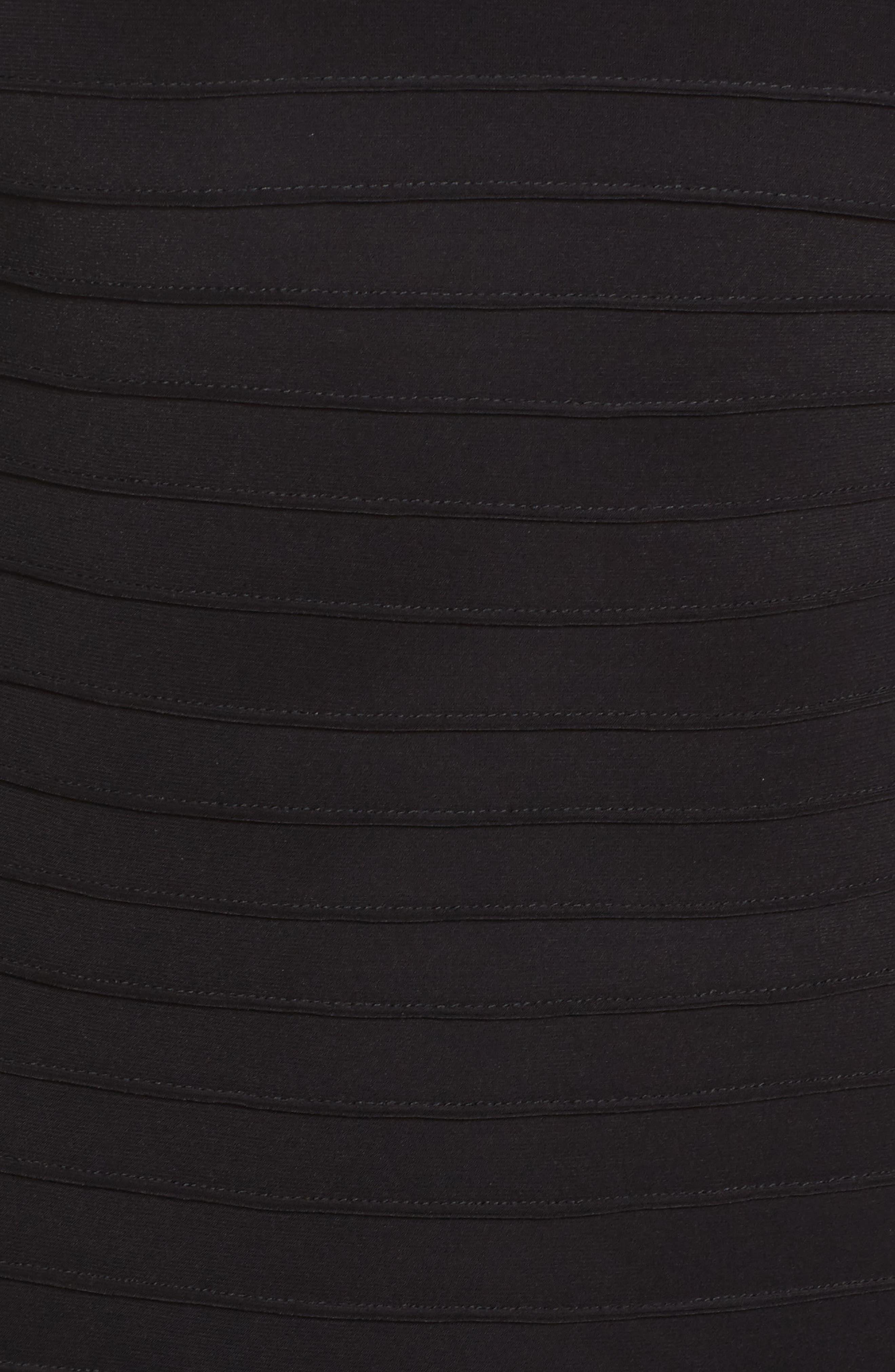 Pintuck Sheath Dress,                             Alternate thumbnail 5, color,                             Black