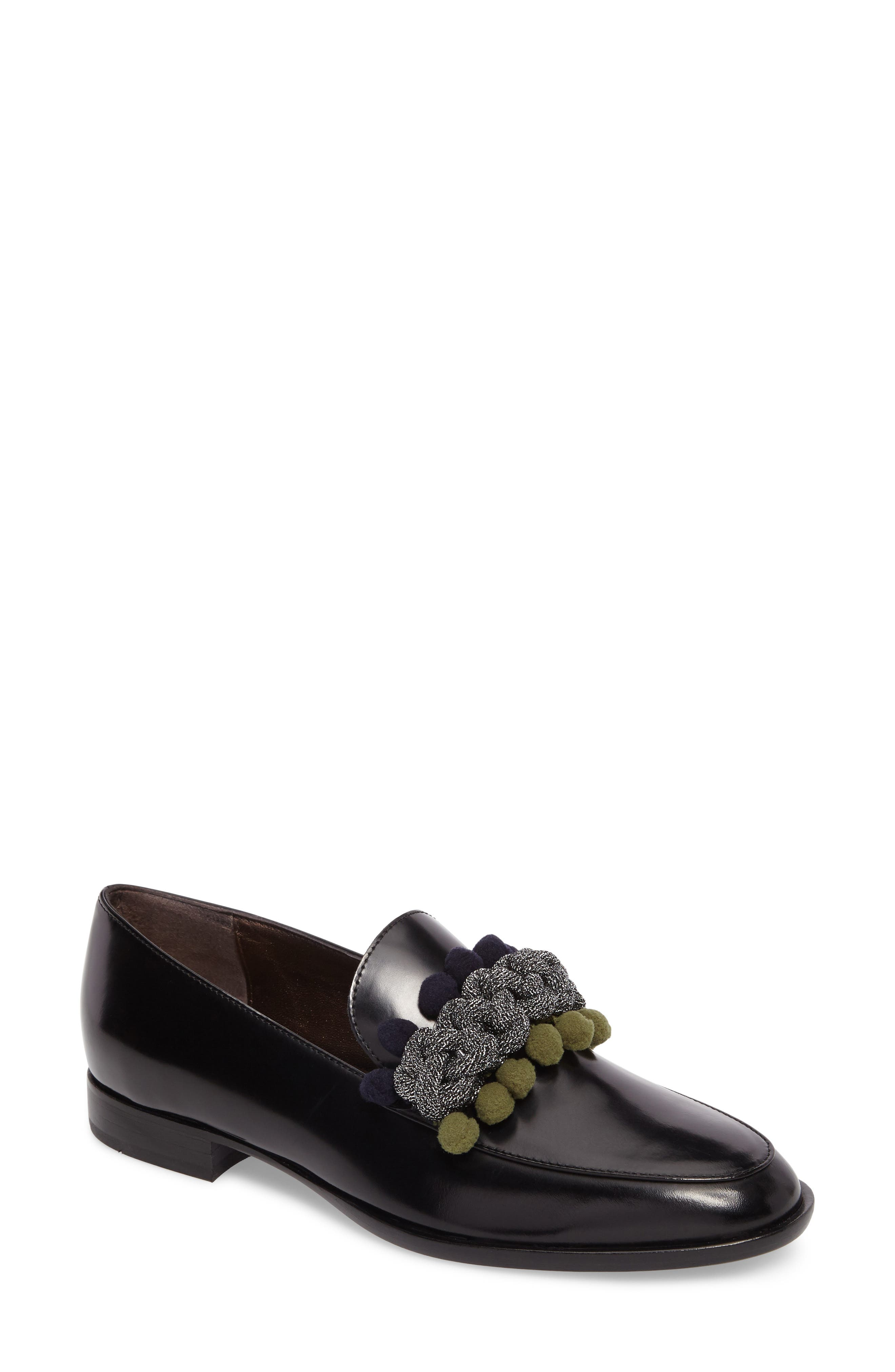 Pom Pom Loafer,                             Main thumbnail 1, color,                             Nero Patent