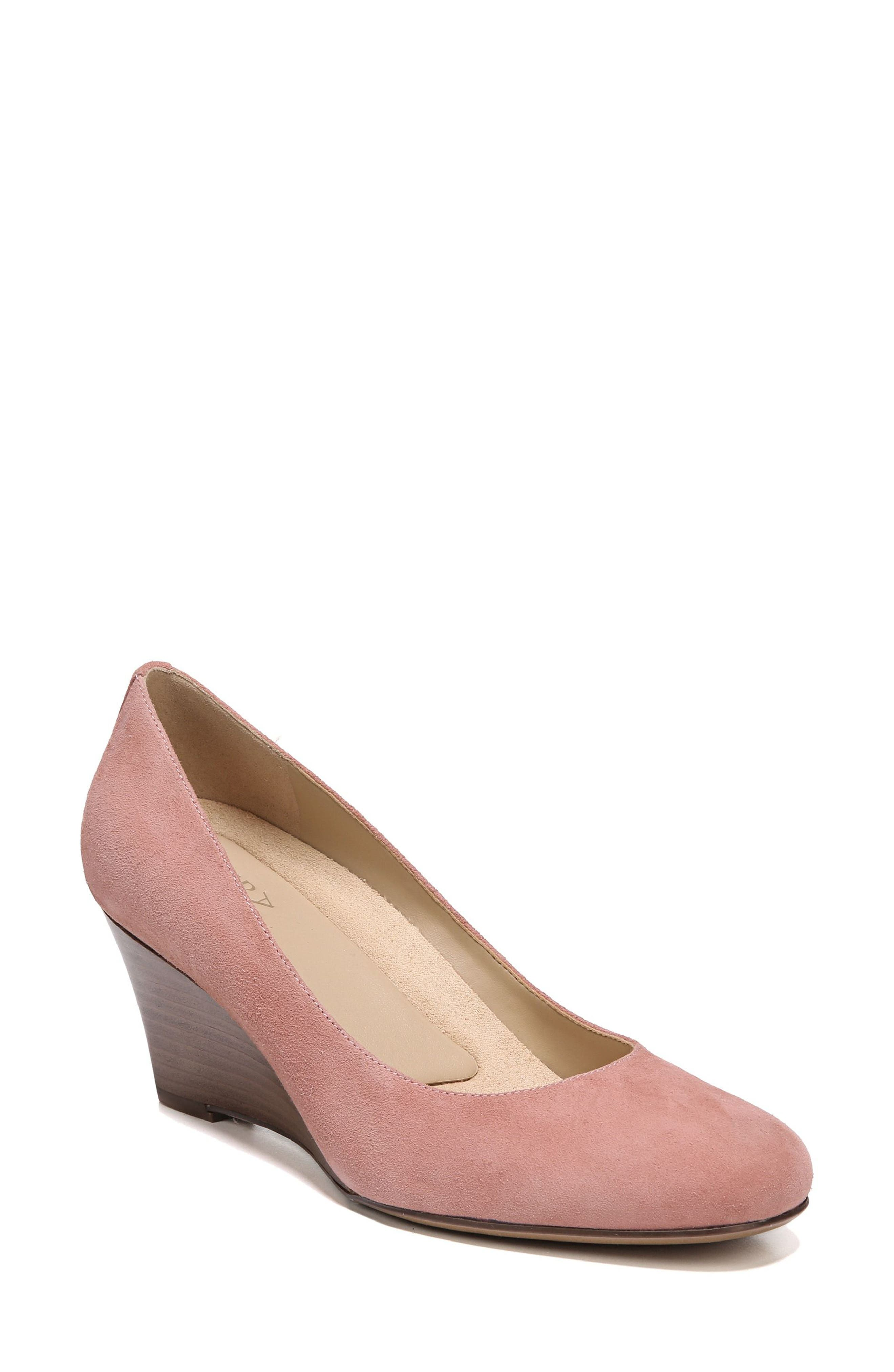 Emily Wedge Pump,                             Main thumbnail 1, color,                             Peony Pink Suede