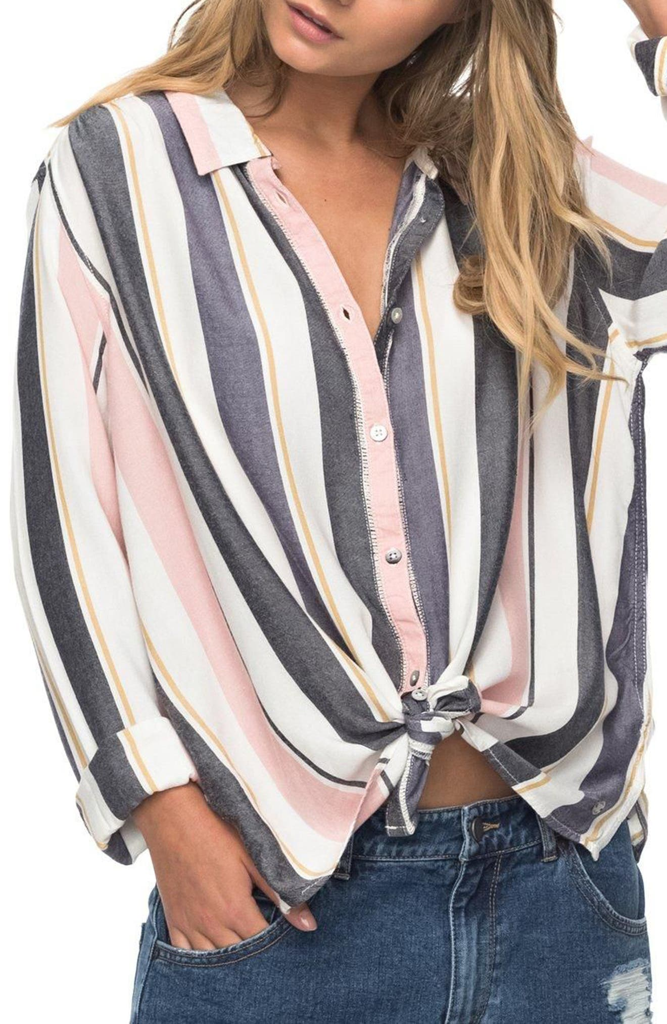 Romantic Path Button-Down Shirt,                             Alternate thumbnail 3, color,                             Nightshadow On The Road Stripe