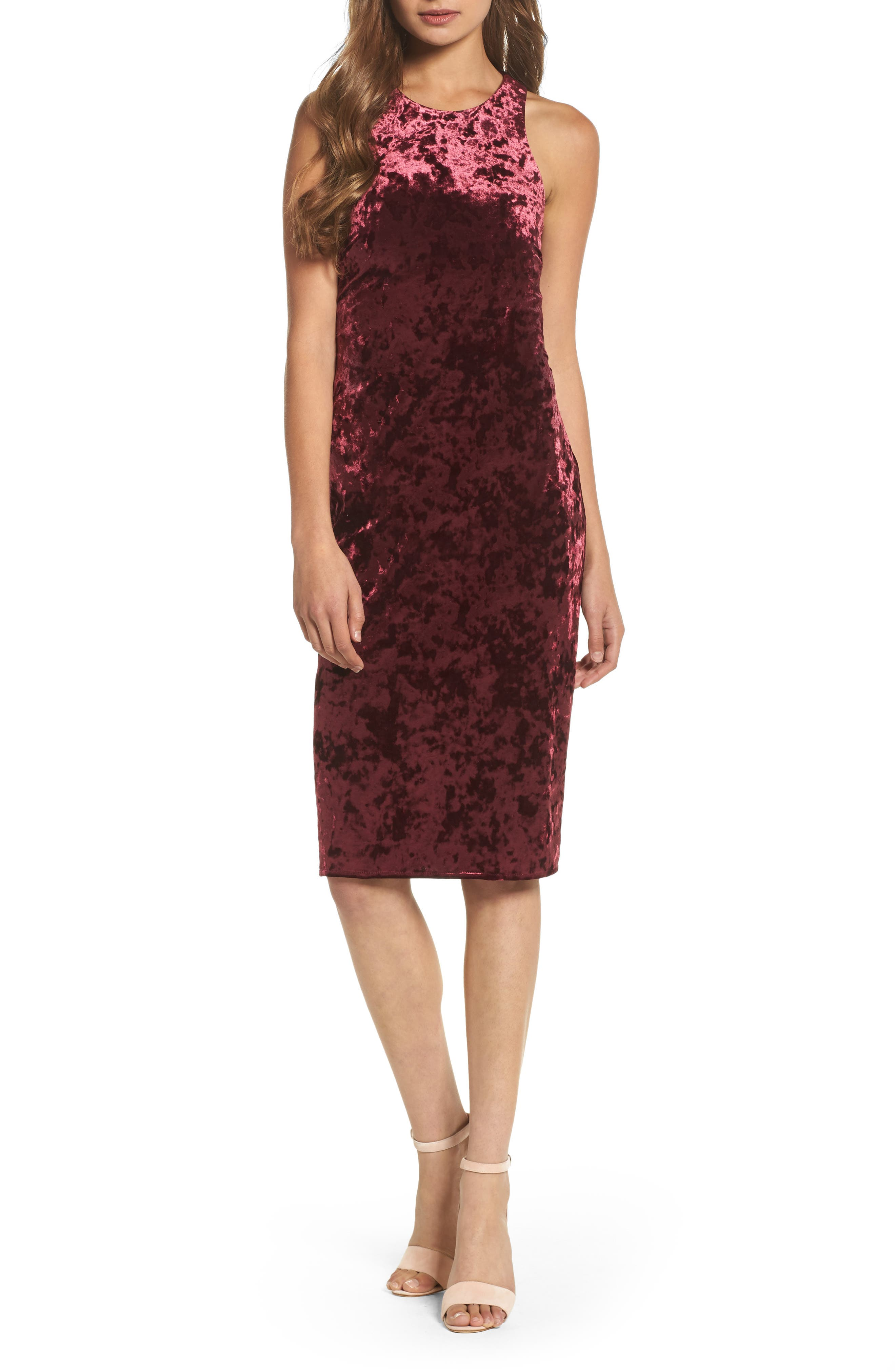 Cutout Back Velvet Sheath Dress,                             Main thumbnail 1, color,                             Burgundy