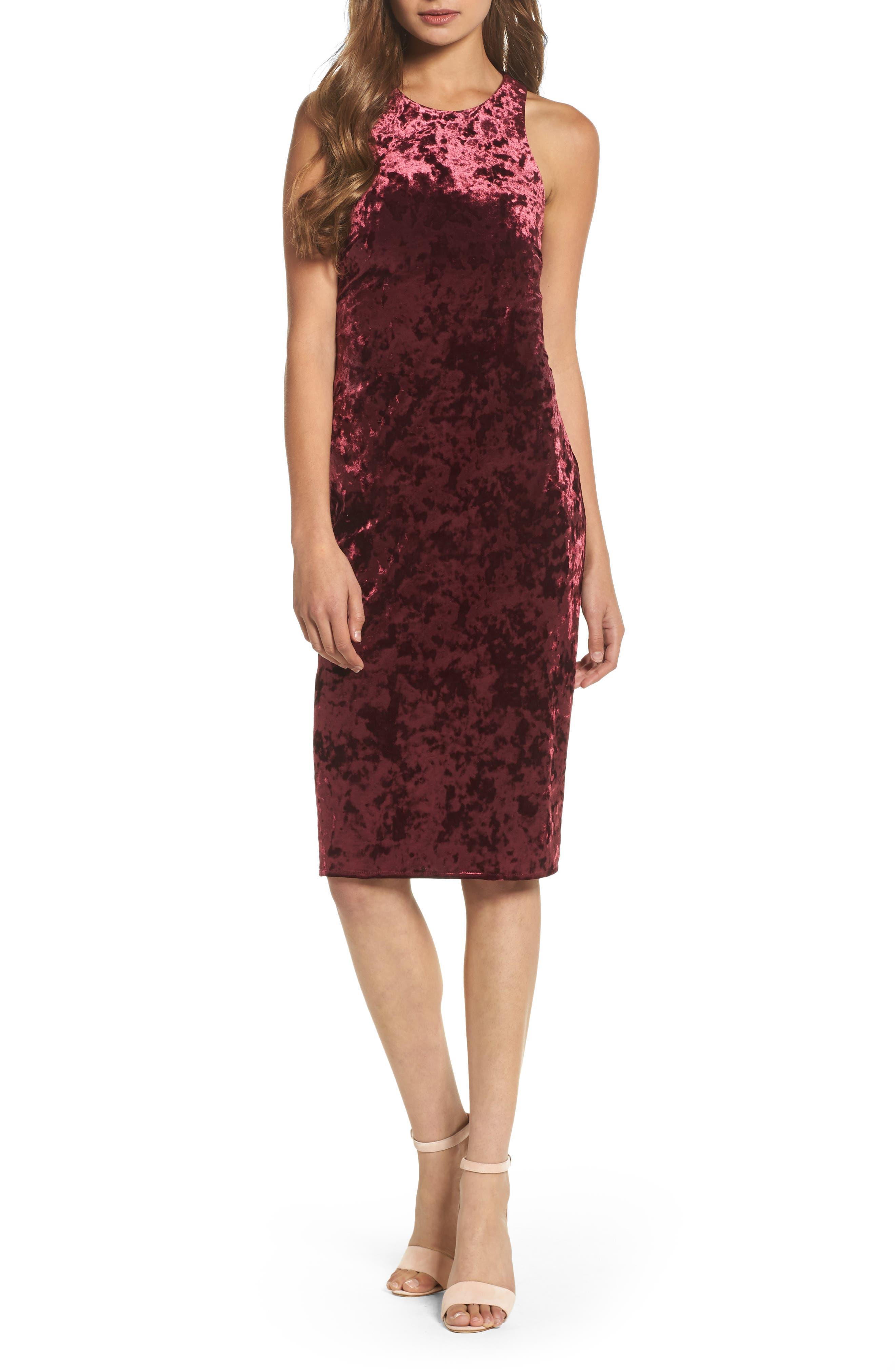 Cutout Back Velvet Sheath Dress,                         Main,                         color, Burgundy