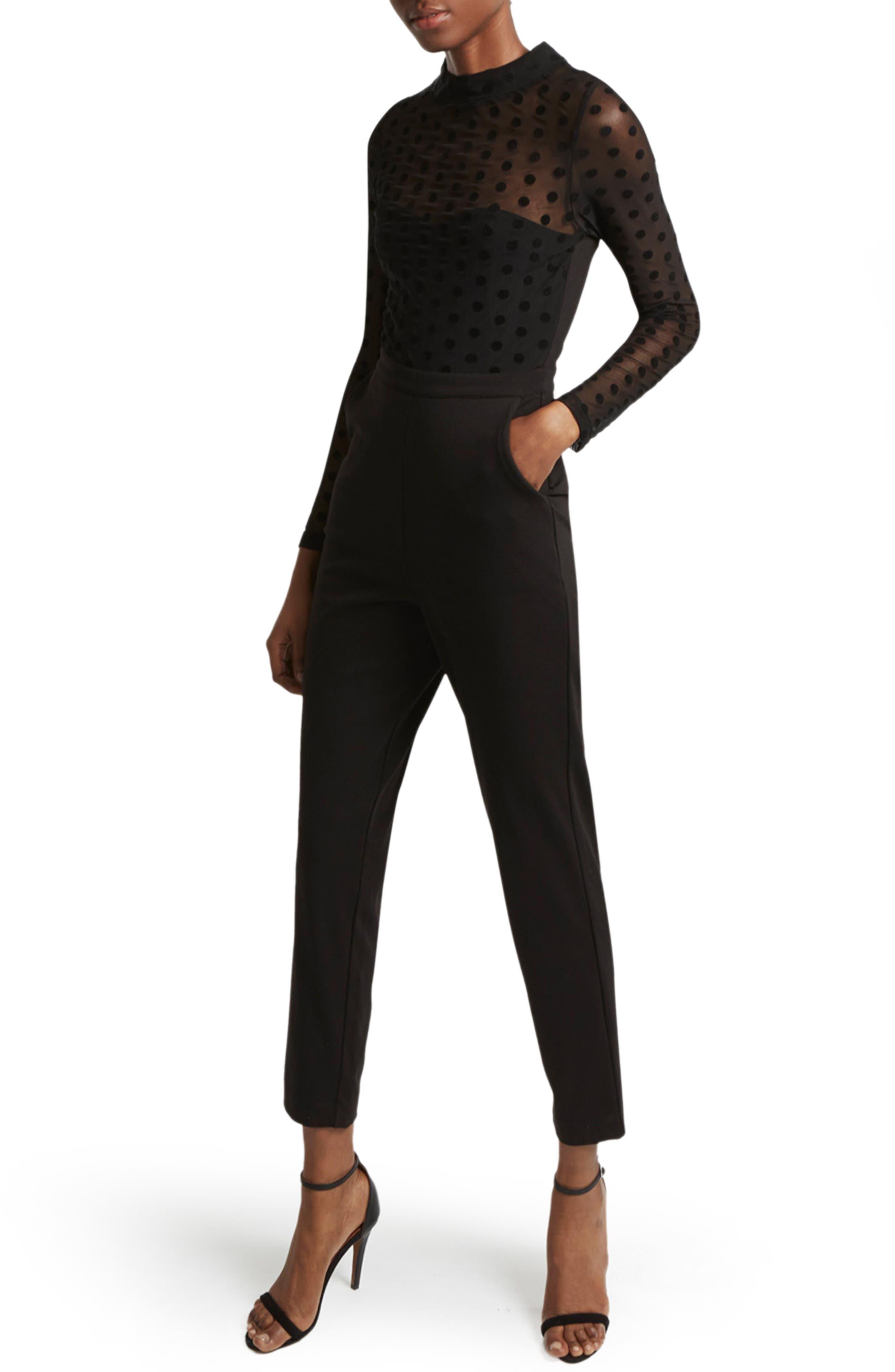 Leah Jersey Jumpsuit,                         Main,                         color, Black