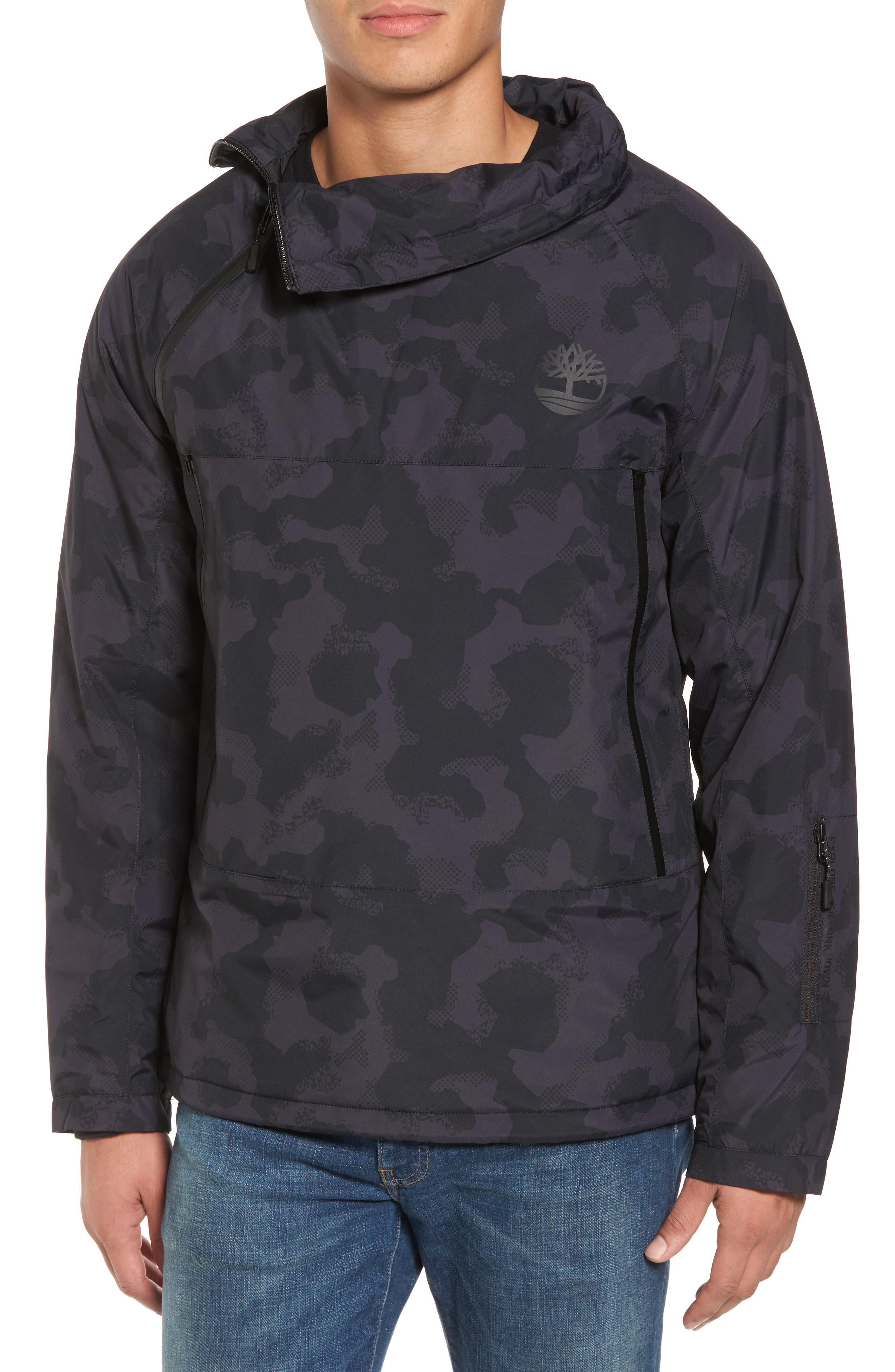 Main Image - Timberland Asymmetrical Water-Repellent Funnel Neck Pullover