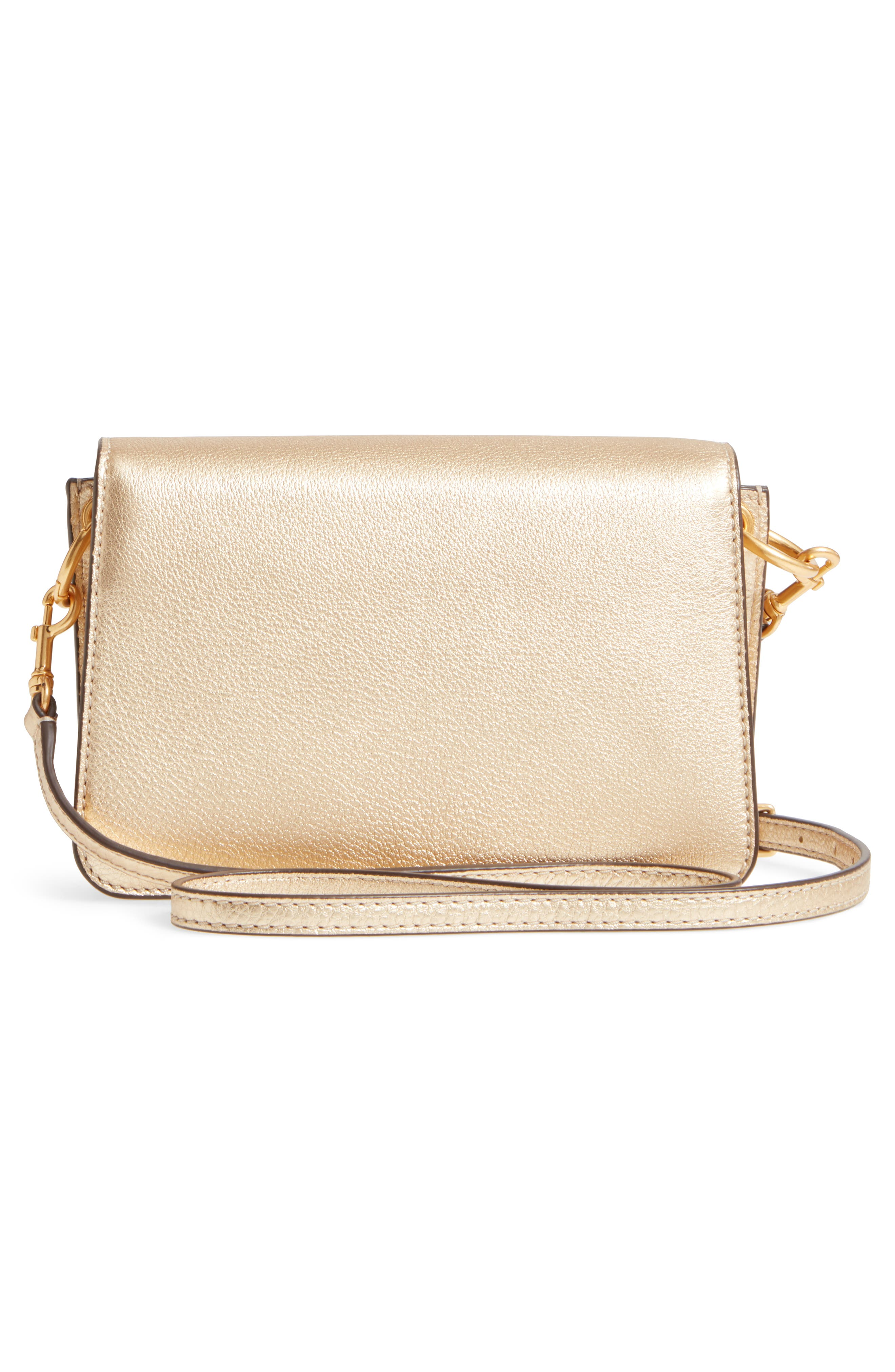 McGraw Metallic Leather Shoulder Bag,                             Alternate thumbnail 3, color,                             Gold