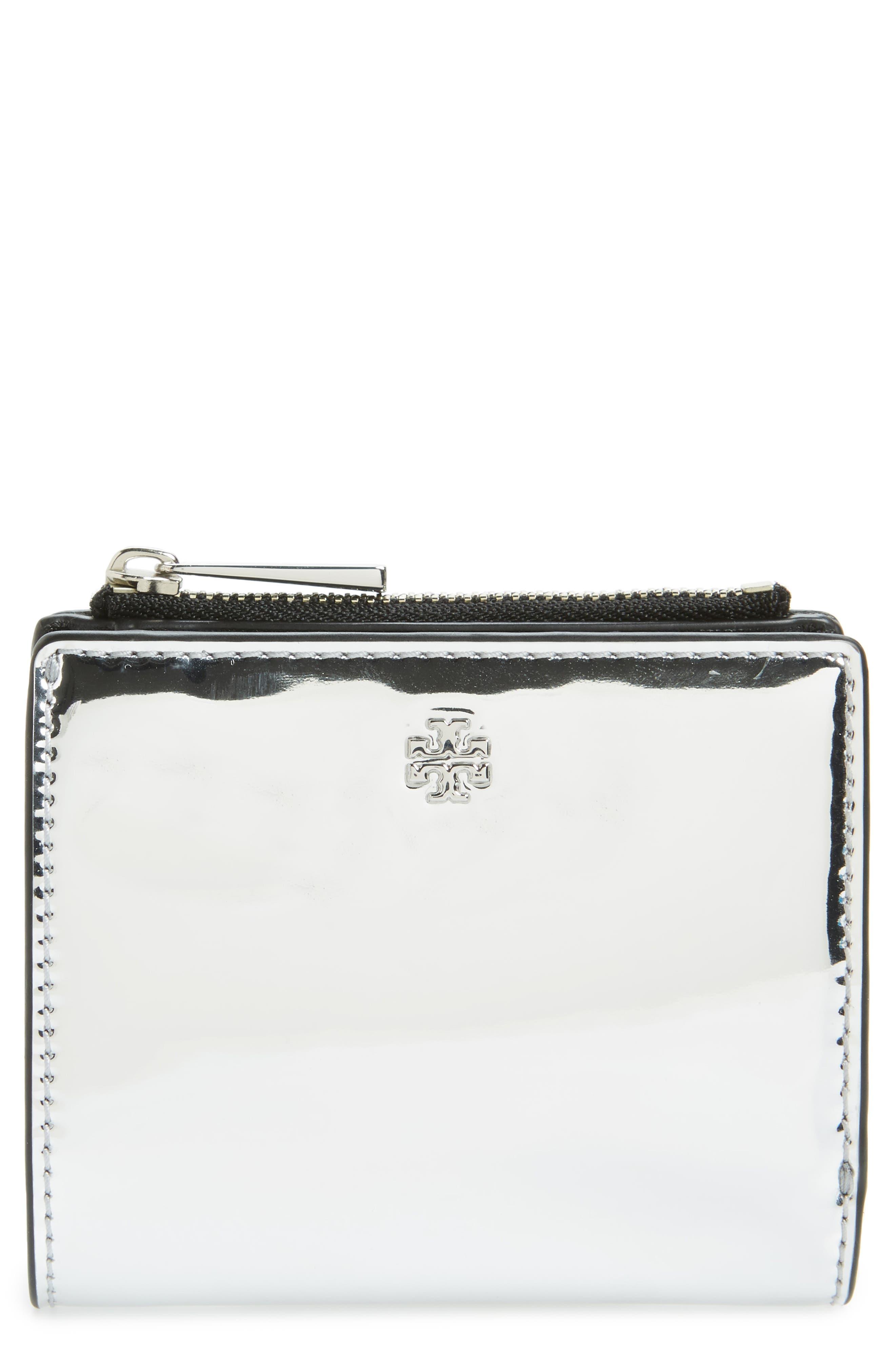 Mini Robinson Mirror Leather Wallet,                         Main,                         color, Silver