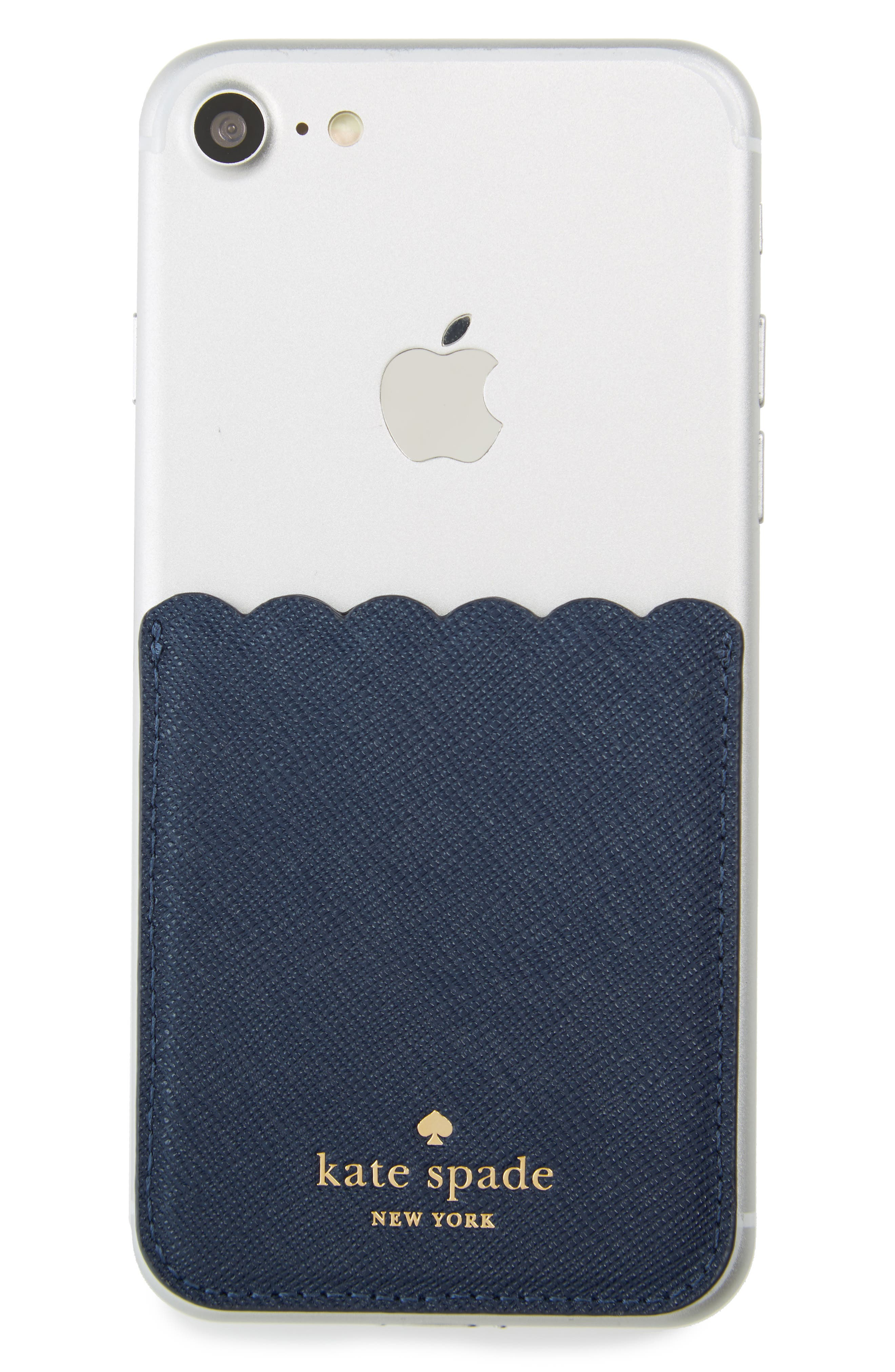 Alternate Image 1 Selected - kate spade new york scallop leather stick-on smartphone case pocket