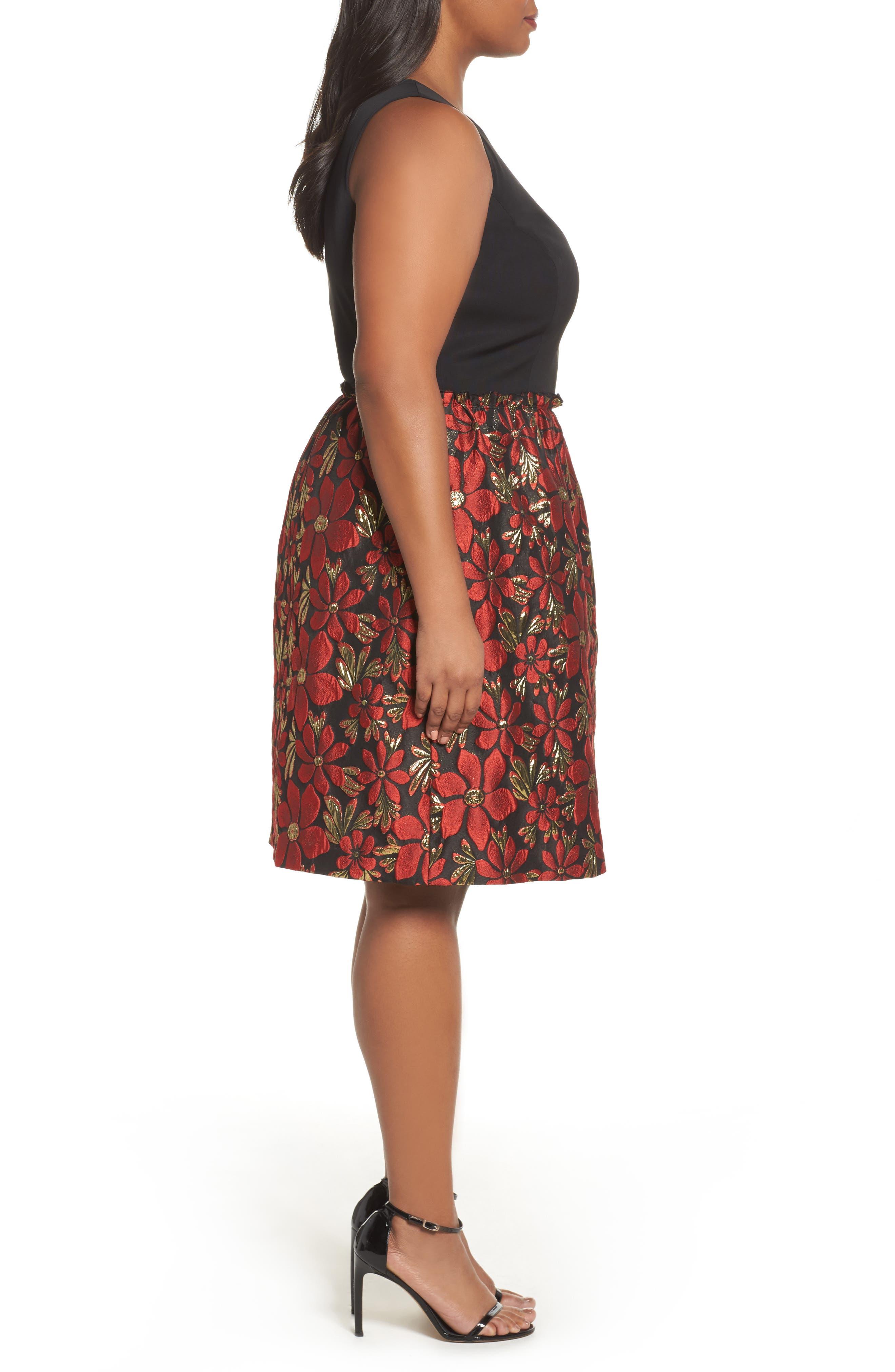 Sleeveless Jacquard Fit & Flare Dress,                             Alternate thumbnail 3, color,                             Black/ Red/ Gold