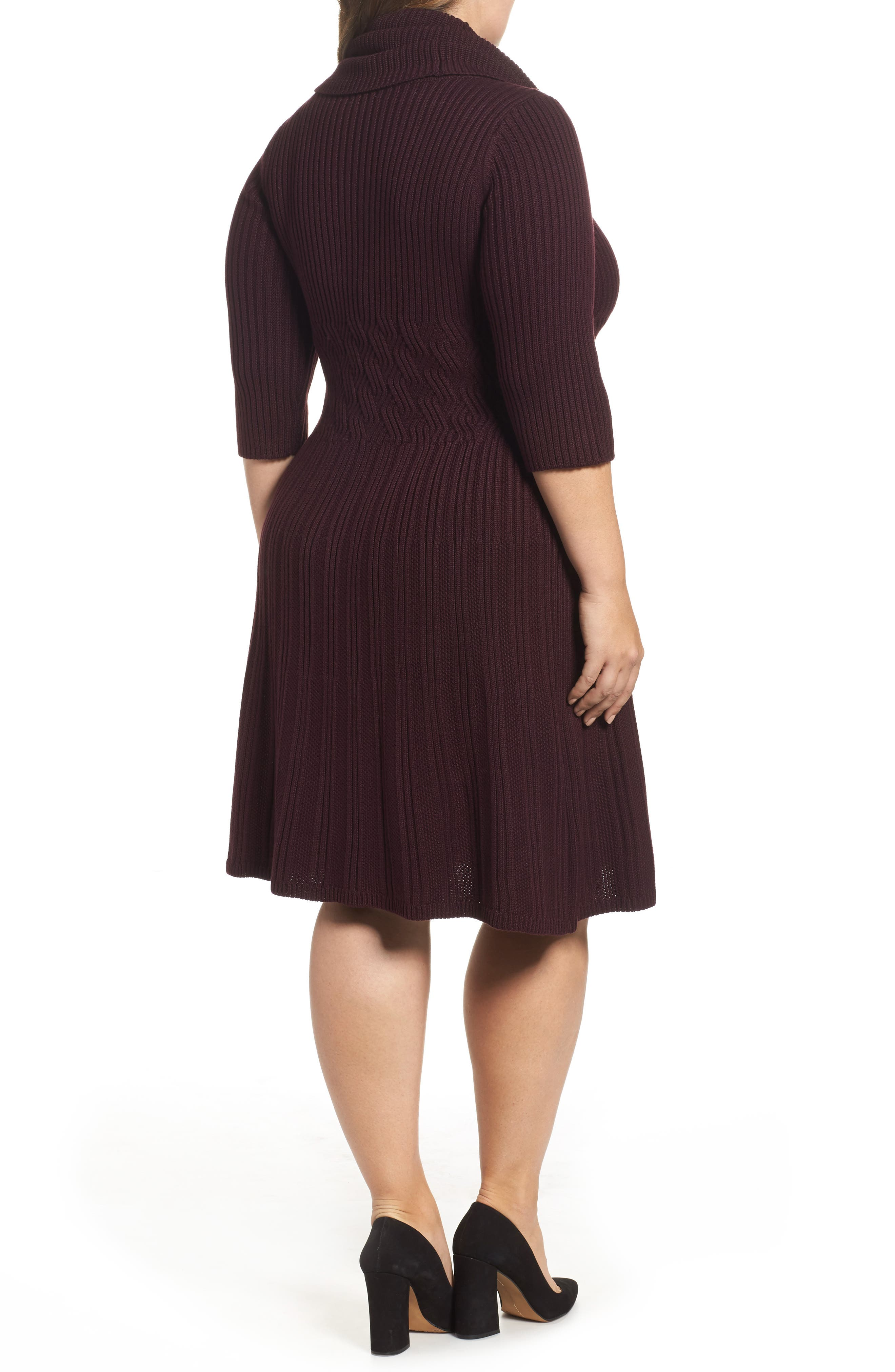 Ribbed Waist Fit & Flare Dress,                             Alternate thumbnail 2, color,                             Wine