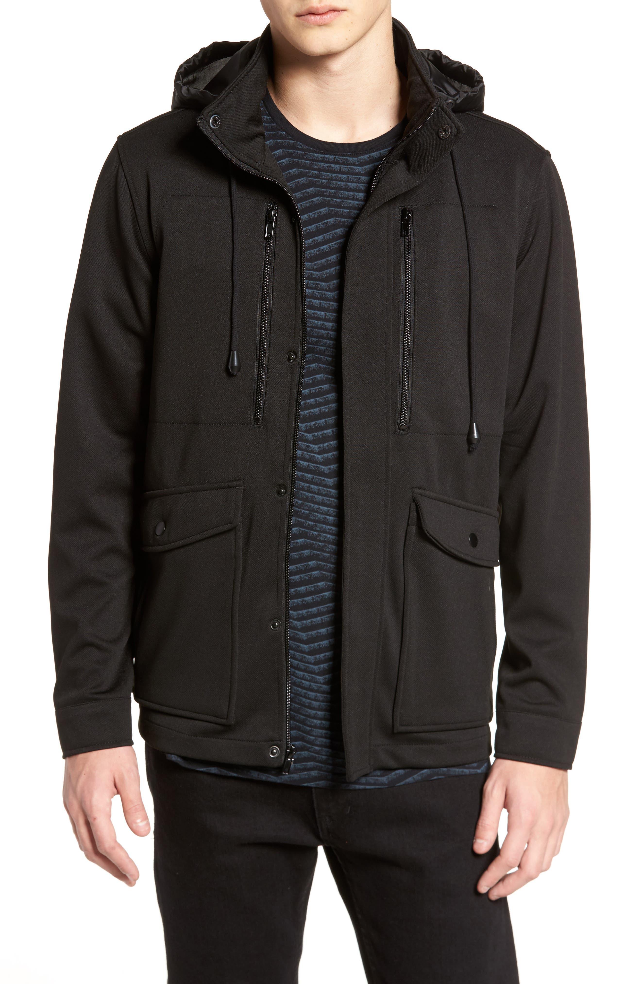 Woven Jacket with Back Pocket,                         Main,                         color, Black