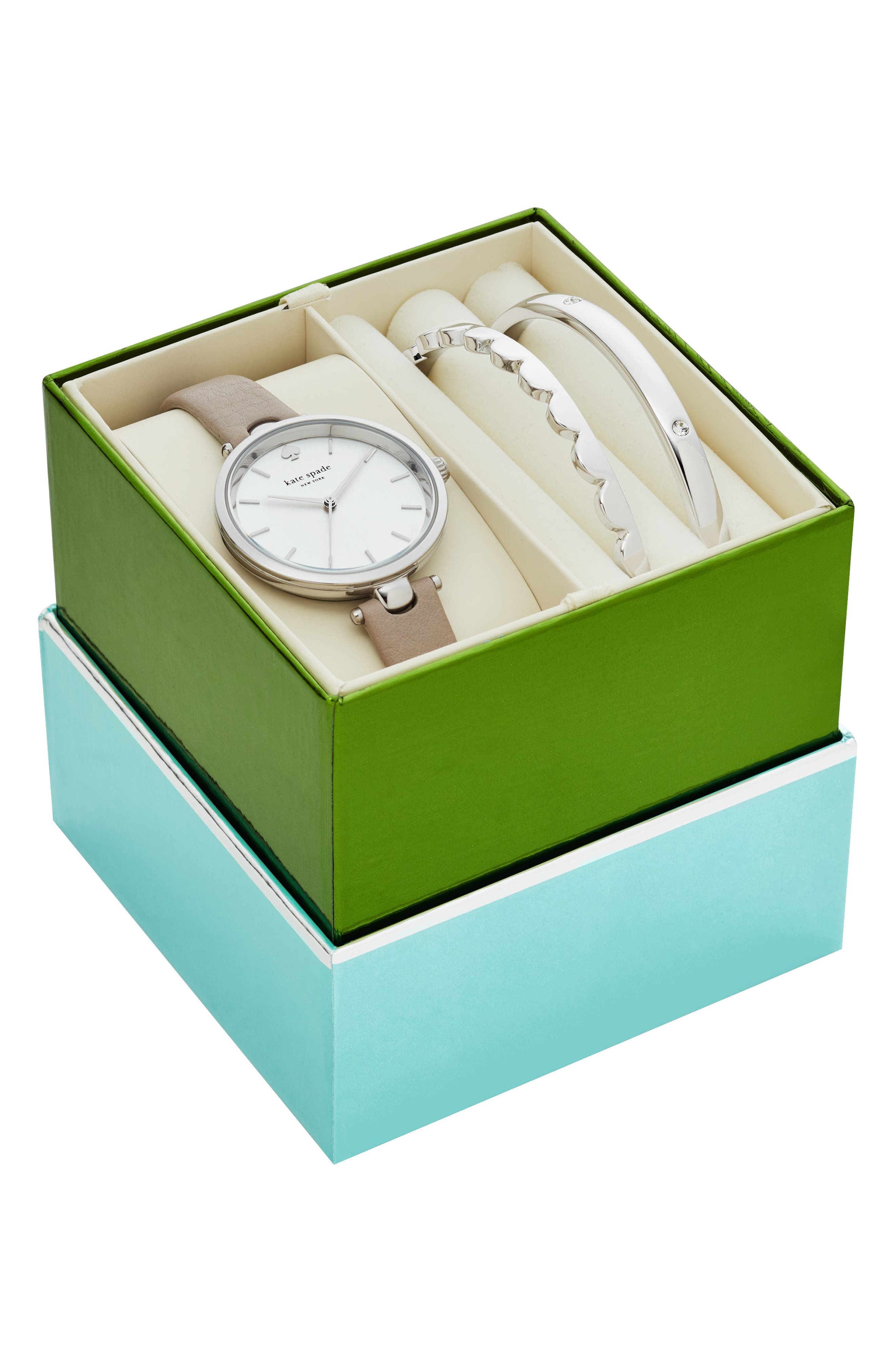 holland leather strap watch gift set, 34mm,                             Alternate thumbnail 2, color,                             Grey/ White/ Silver