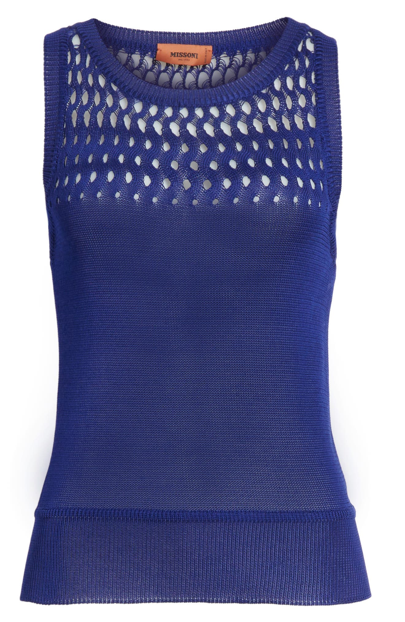 Cutout Knit Cotton Tank,                             Alternate thumbnail 6, color,                             Blue
