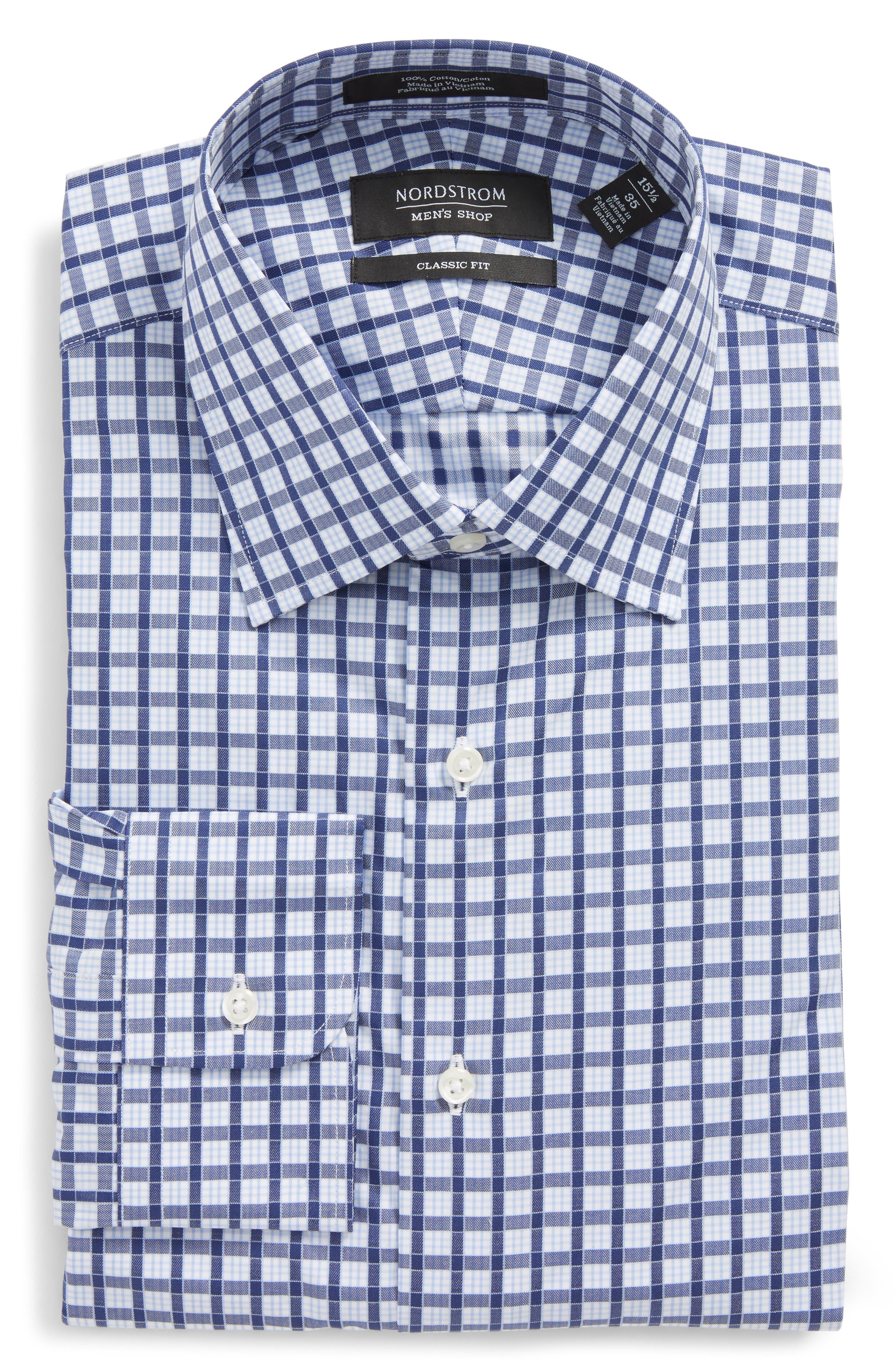 Traditional Fit Check Dress Shirt,                             Alternate thumbnail 6, color,                             Navy Ribbon