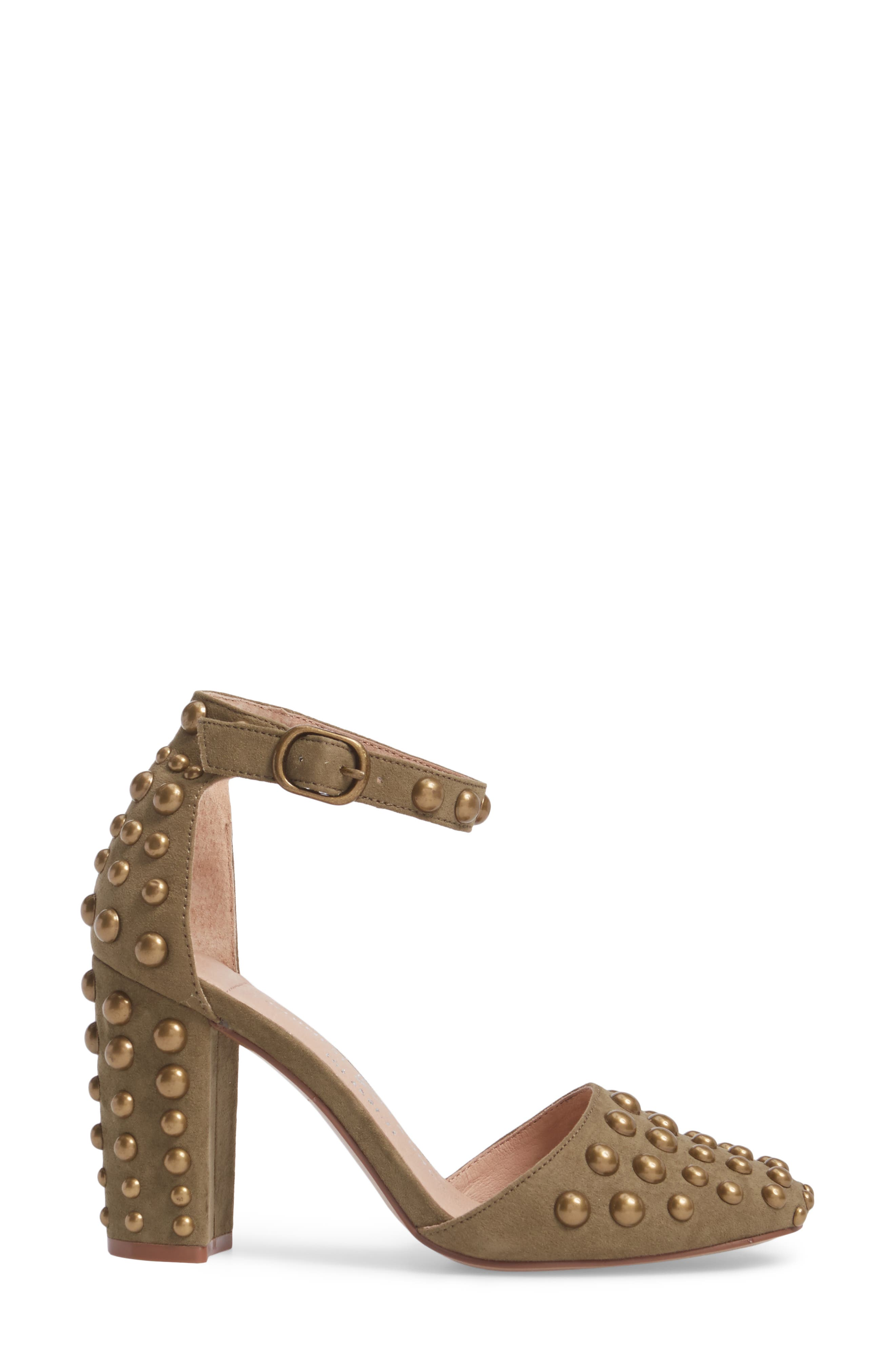 Vegas Studded Pump,                             Alternate thumbnail 3, color,                             Olive Suede