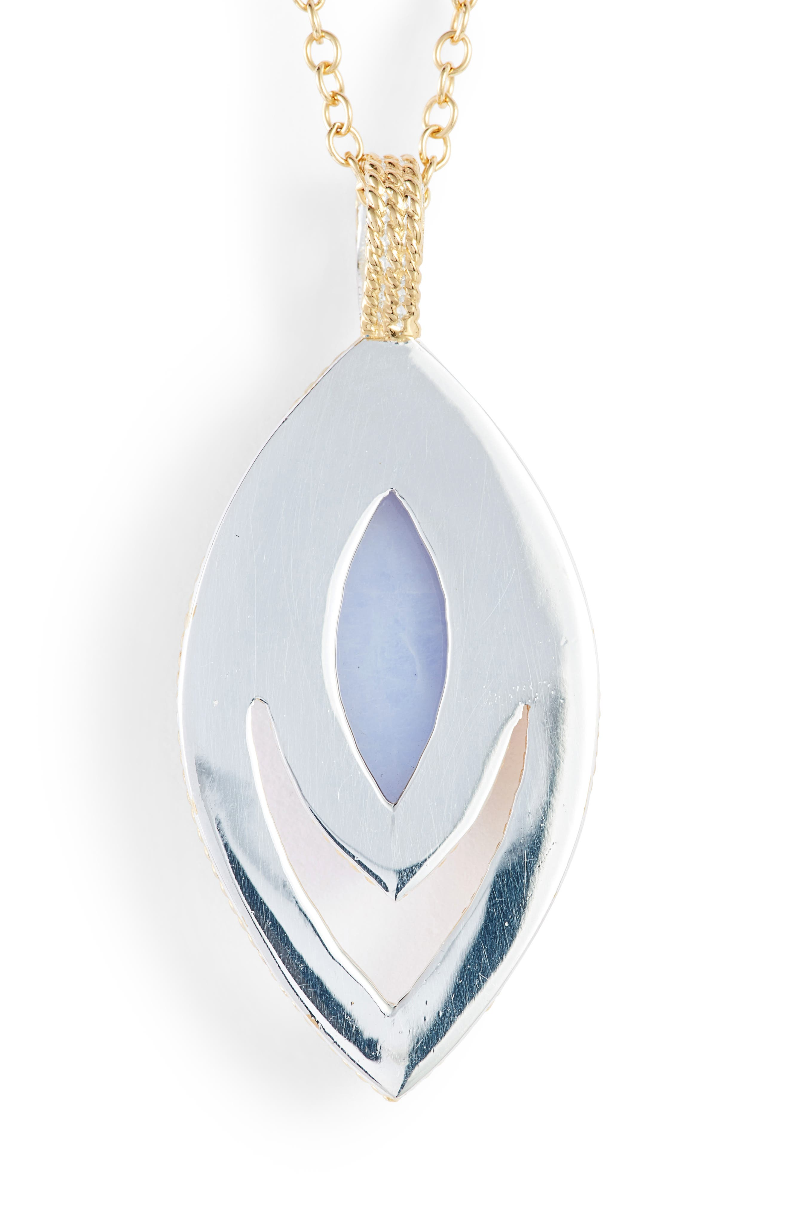 Chalcedony Doublet Pendant Necklace,                             Alternate thumbnail 4, color,                             Gold/ Blue Chalcedony