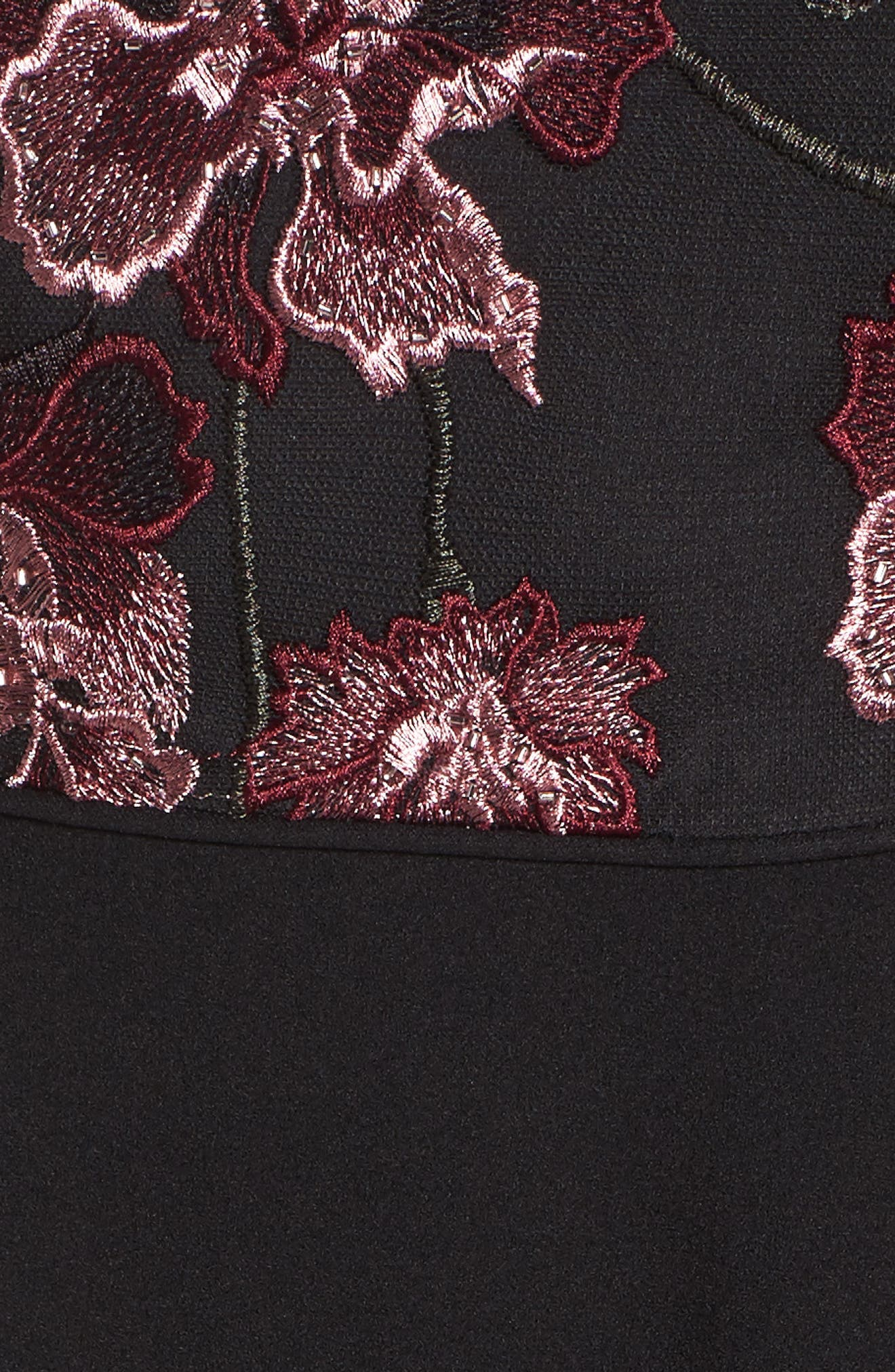 Embroidered Ruffle Gown,                             Alternate thumbnail 5, color,                             Cabernet Multi