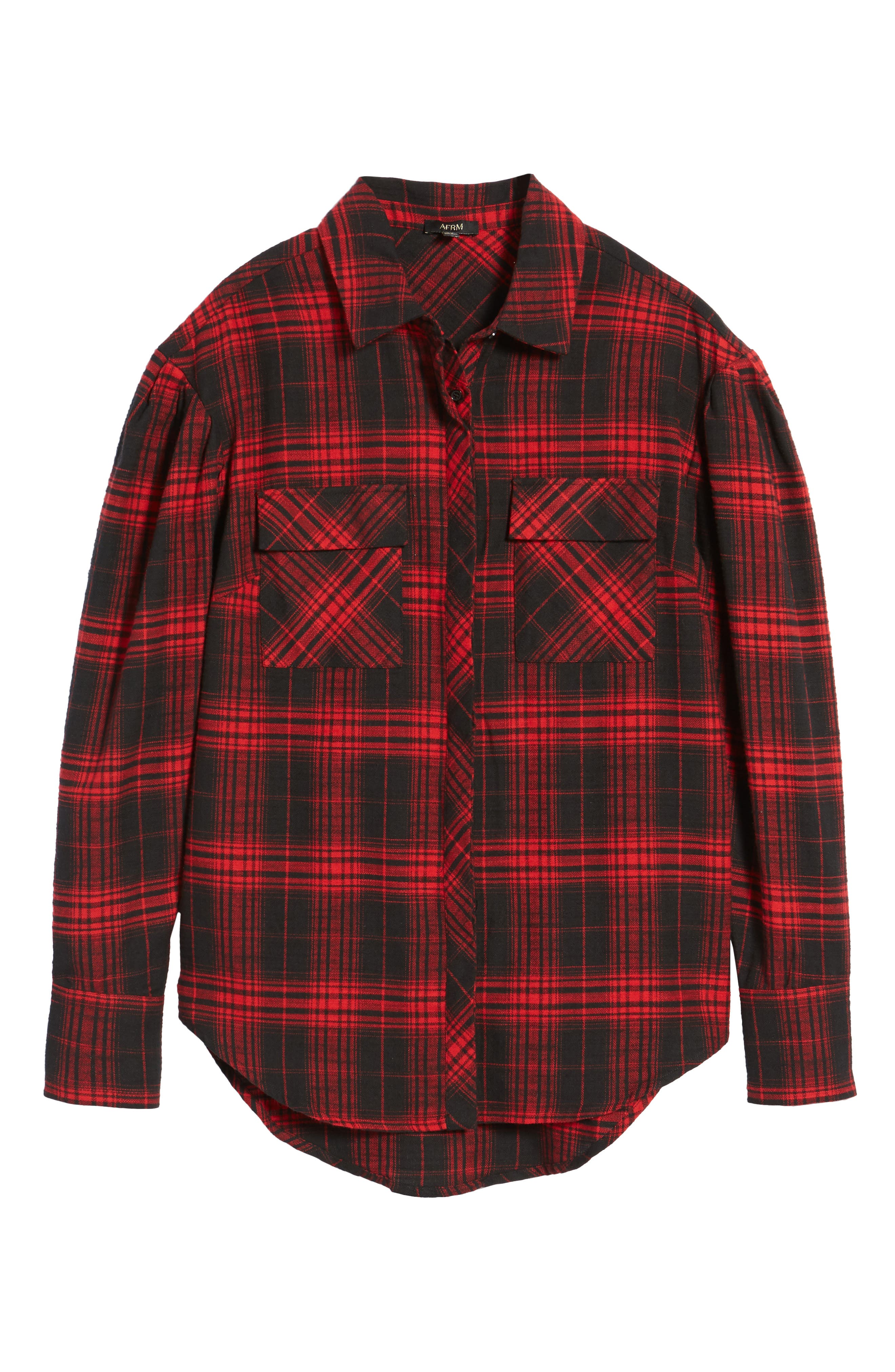 Victoria Oversize Flannel Shirt,                             Alternate thumbnail 6, color,                             Red Flannel