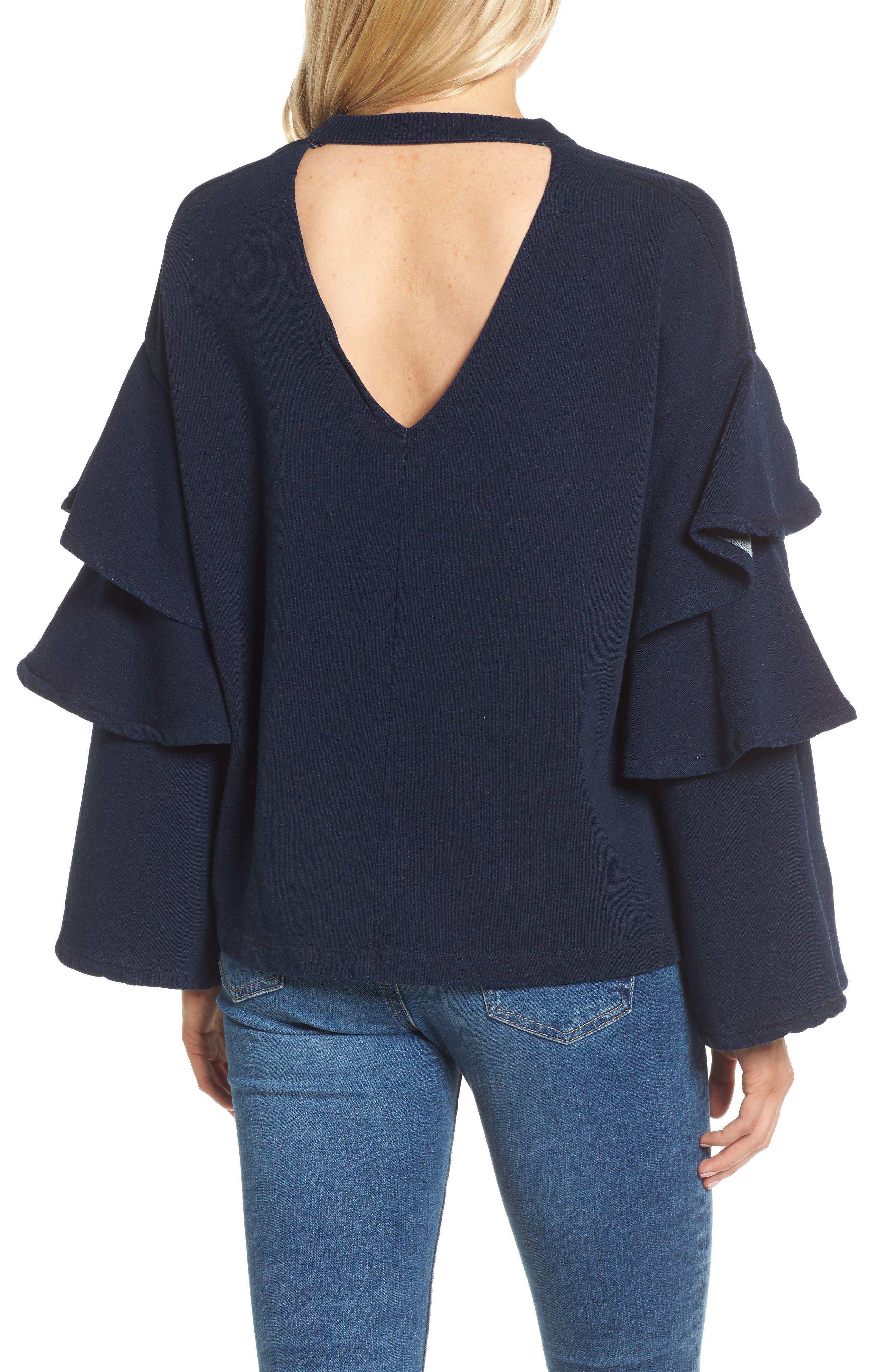 Pearl Ruffle Sweatshirt,                             Alternate thumbnail 2, color,                             Dark Indigo