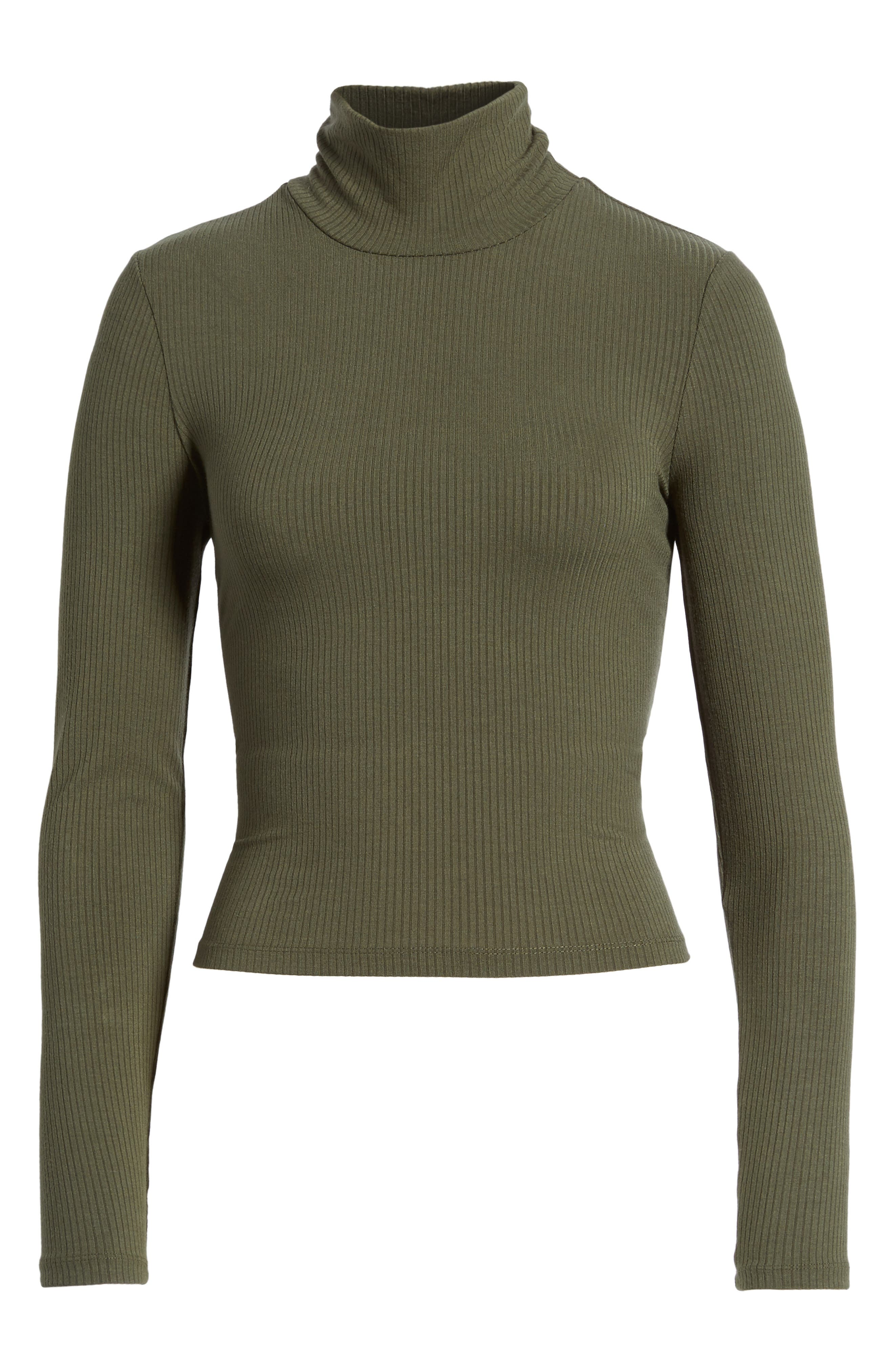 Mira Lace Up Turtleneck,                             Alternate thumbnail 6, color,                             Olive