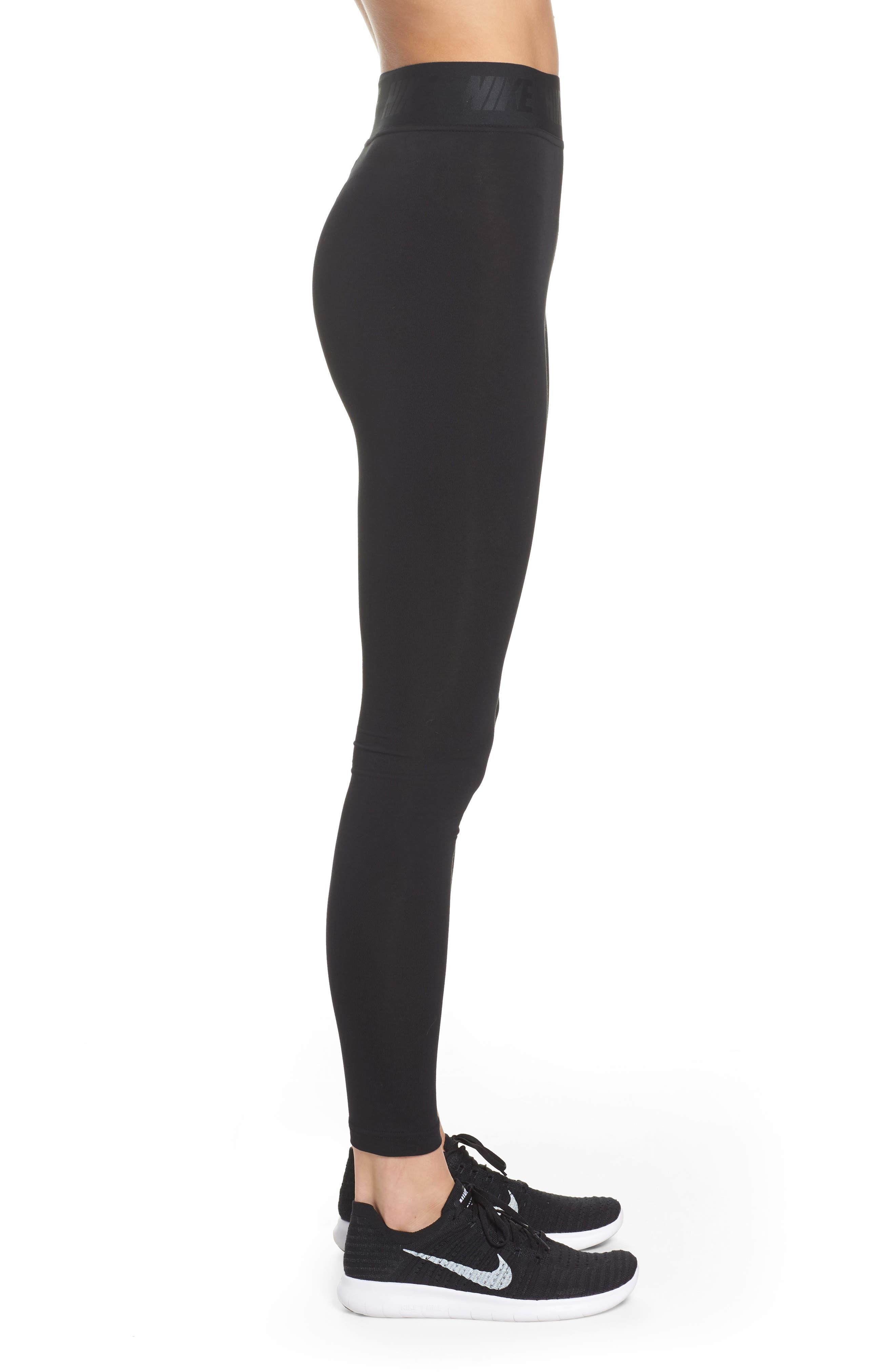 Leg-a-See High Waist Leggings,                             Alternate thumbnail 3, color,                             Black/ White