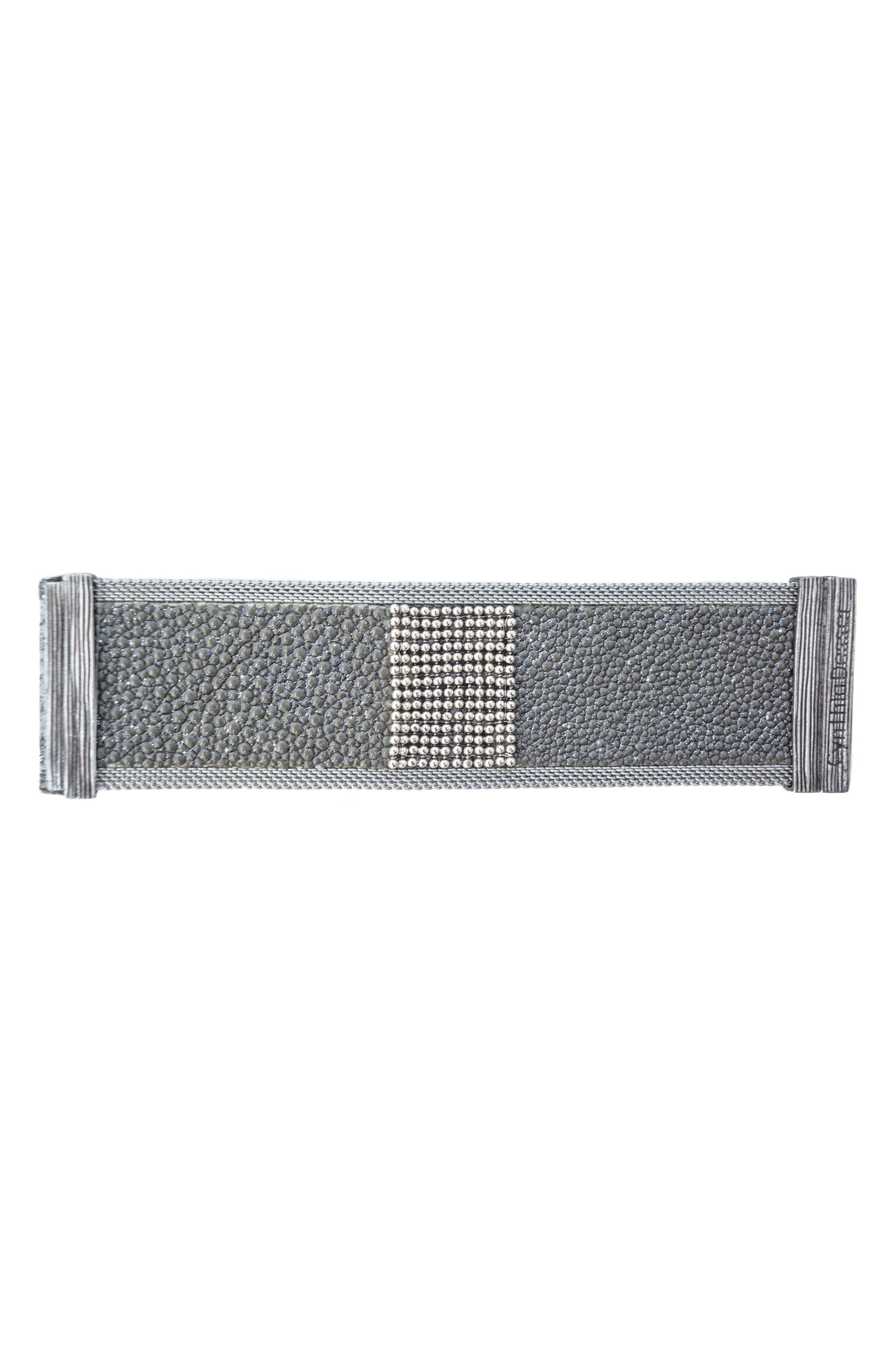 Wide Shimmer Stingray Bracelet,                             Alternate thumbnail 2, color,                             Grey/ Silver