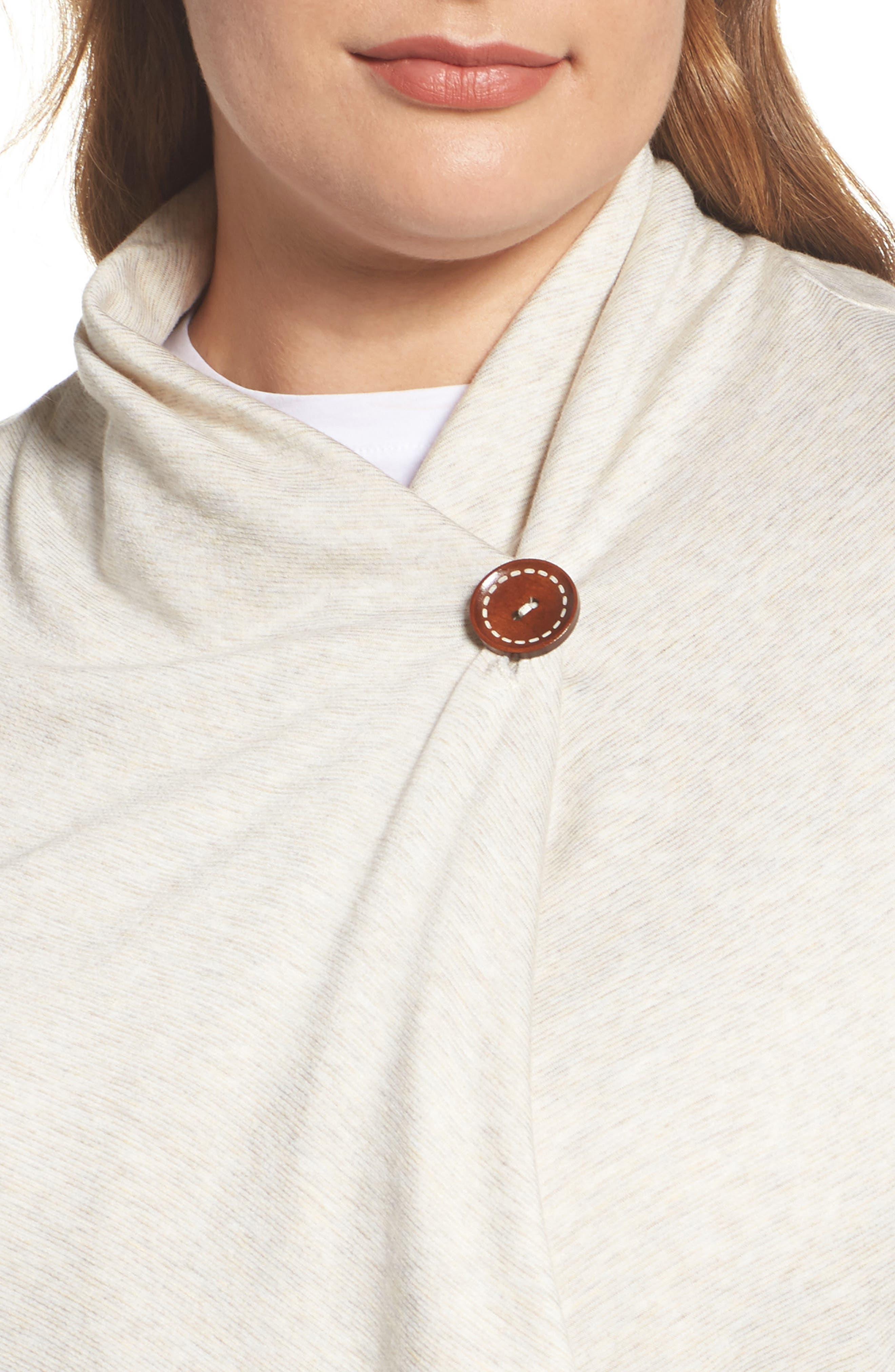 Alternate Image 4  - Bobeau One-Button Fleece Cardigan (Plus Size)