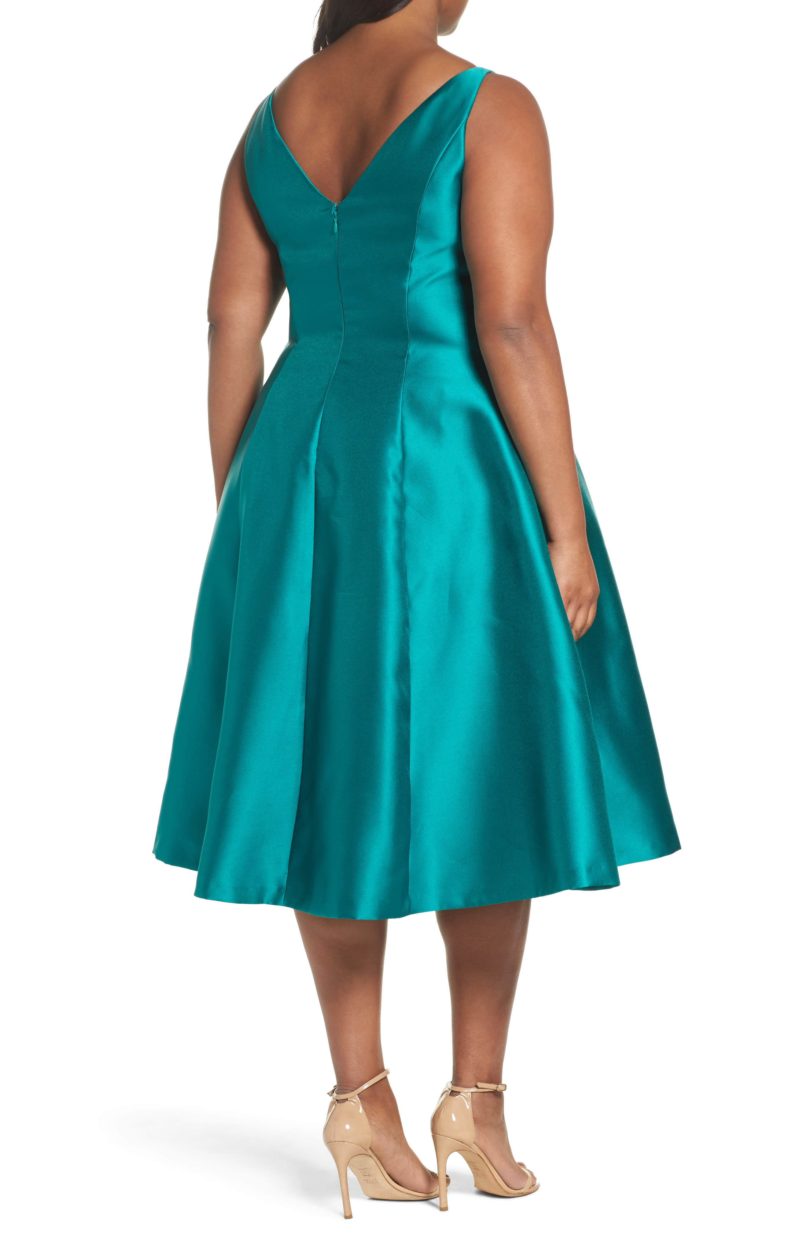 Sleeveless Mikado Fit & Flare Midi Dress,                             Alternate thumbnail 2, color,                             Vivid Malachite