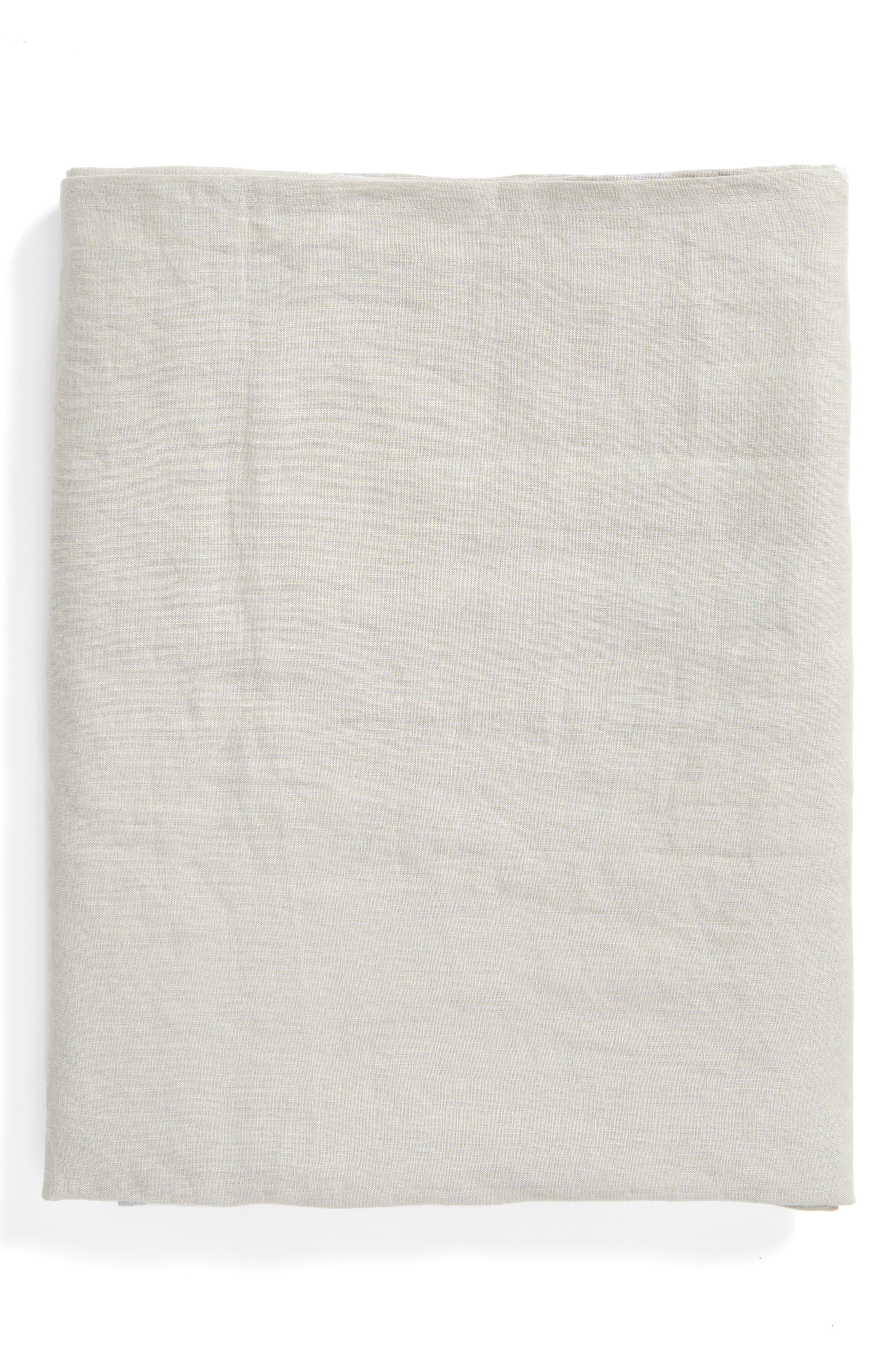 Washed Linen Tablecloth,                         Main,                         color, Grey