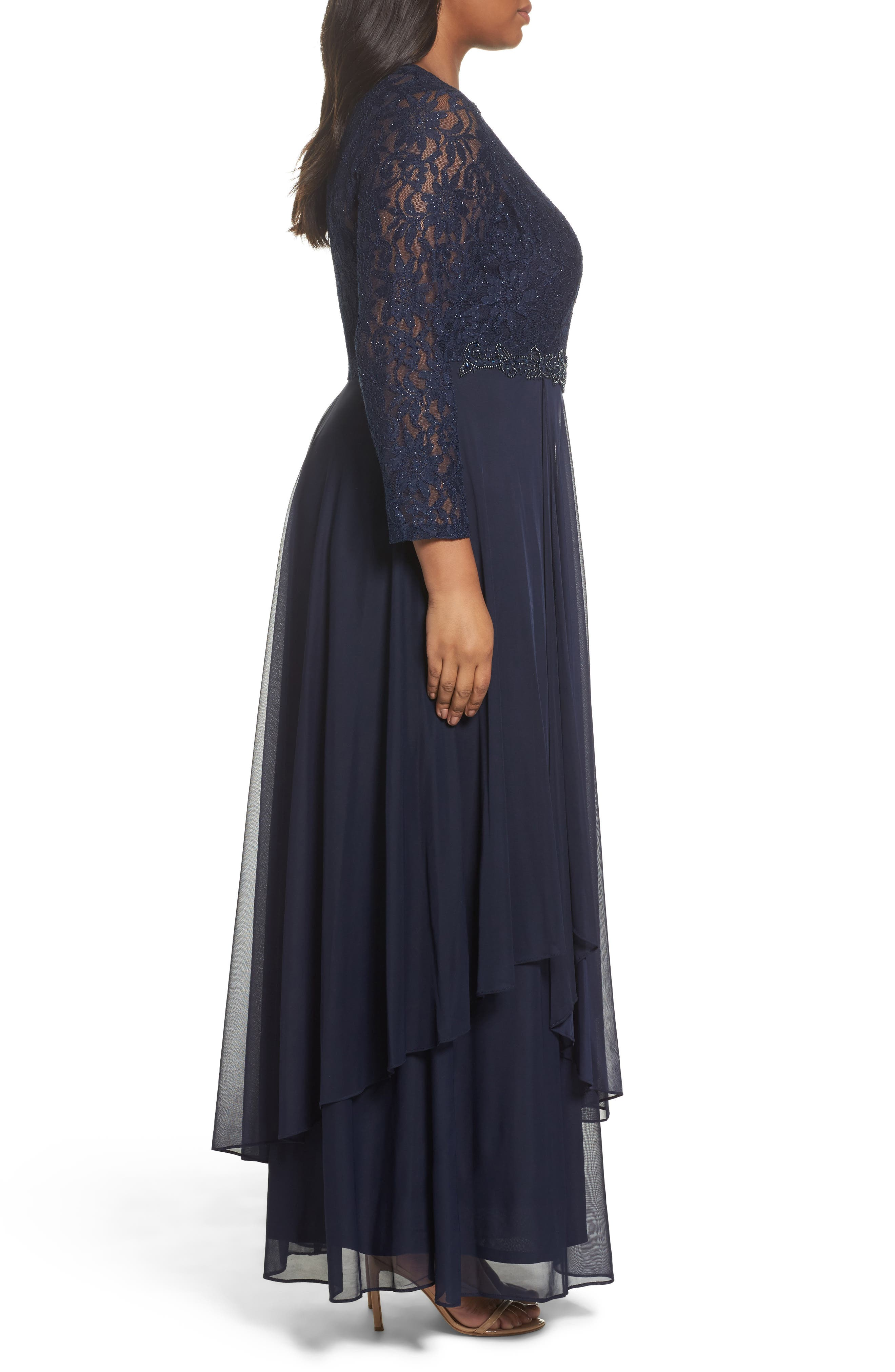 Alternate Image 3  - Decode 1.8 Lace & Mesh Gown (Plus Size)