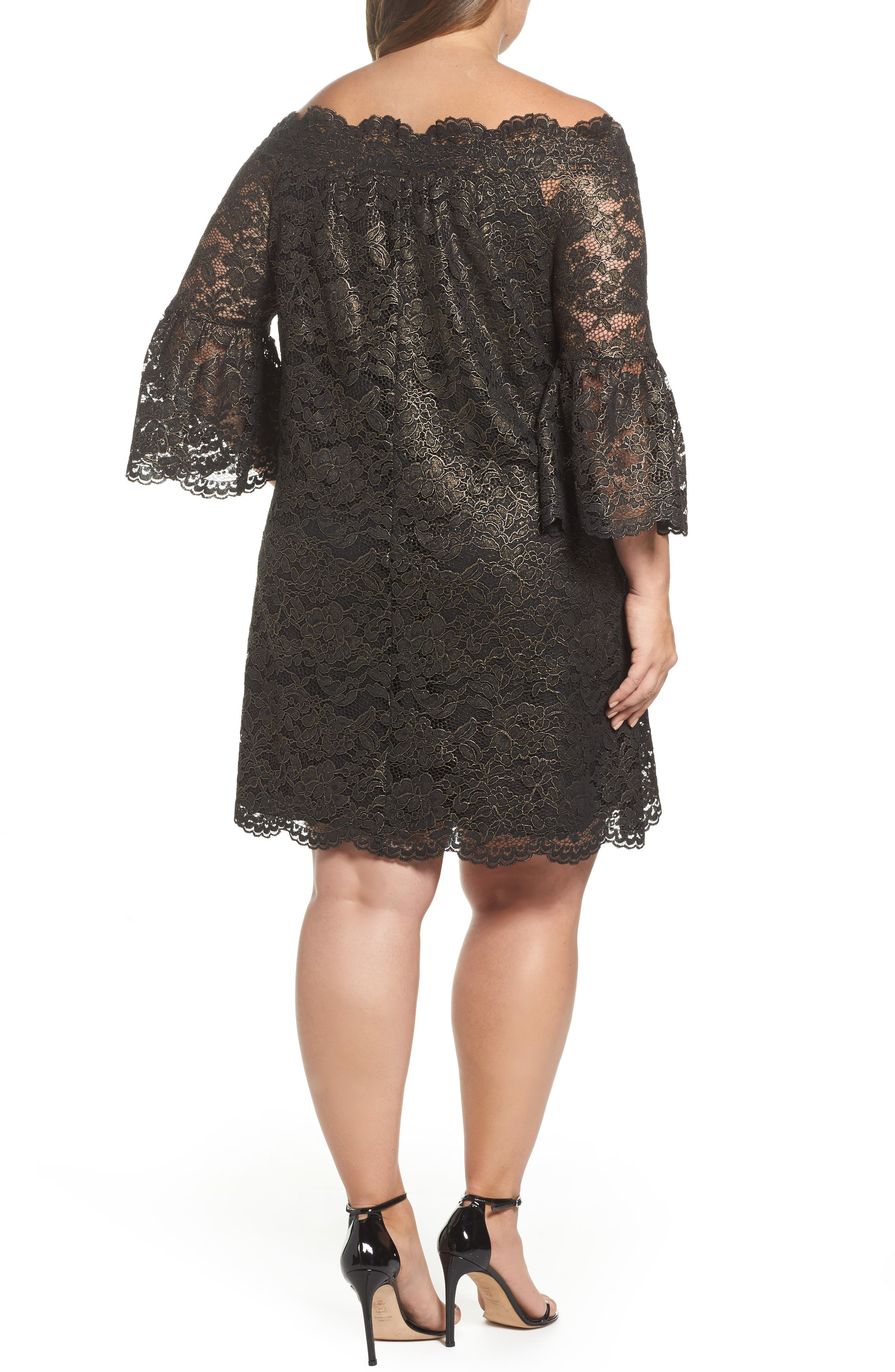 Alternate Image 2  - ELVI Off the Shoulder Black Gold Lace Dress (Plus Size)